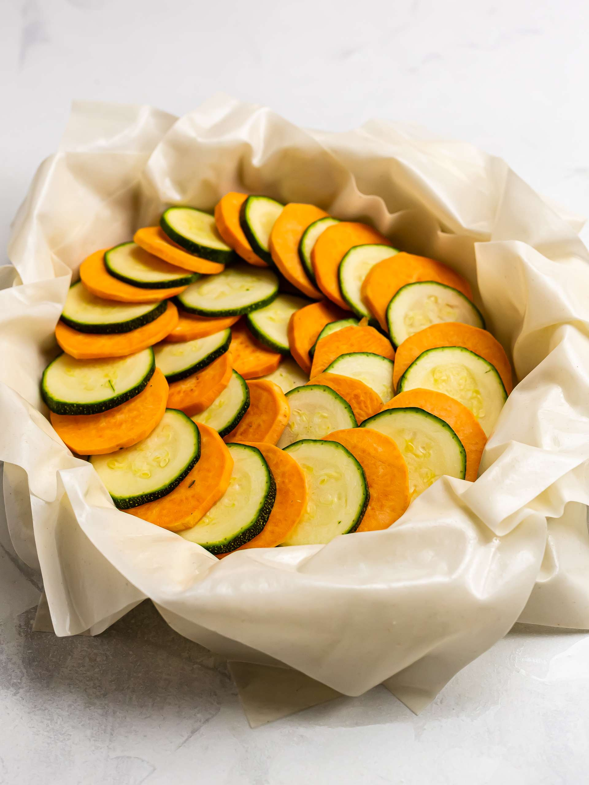 filo pie filled with zucchini and sweet potatoes