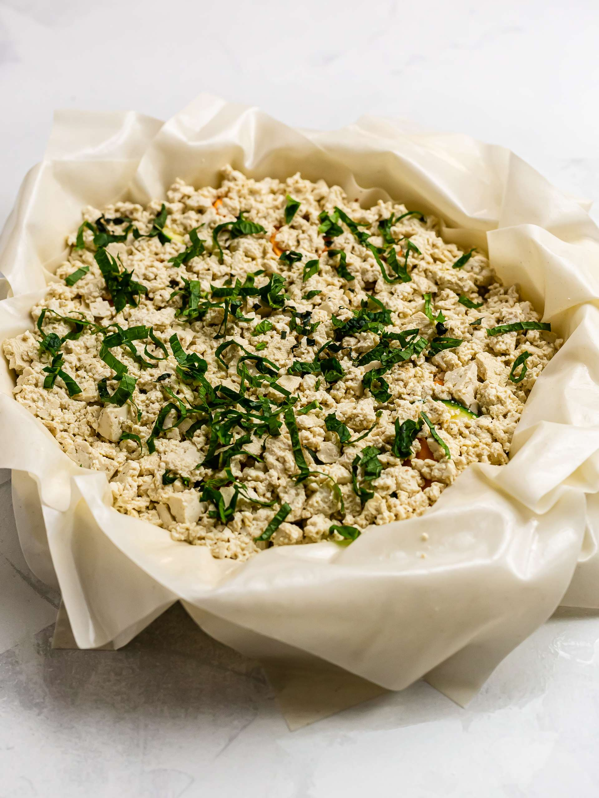 greek filo pie with crumbled tofu and mint