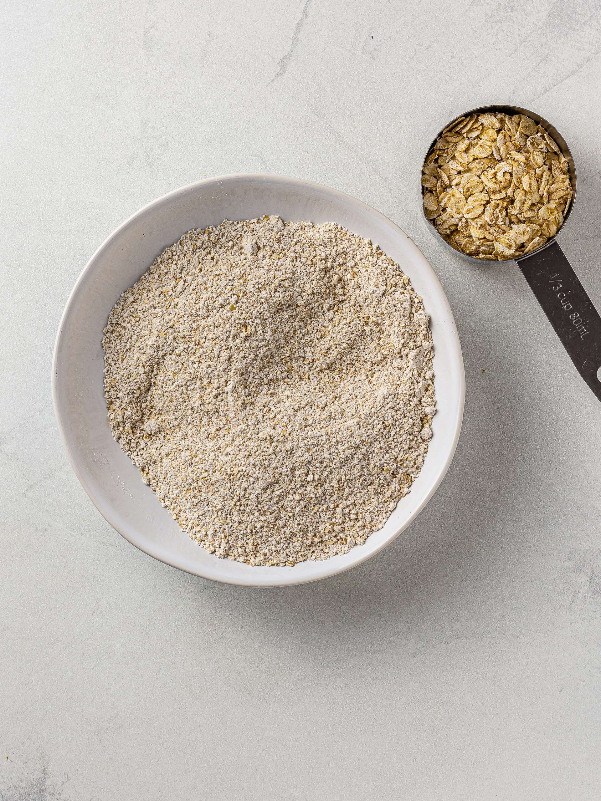 oat flour in a bowl