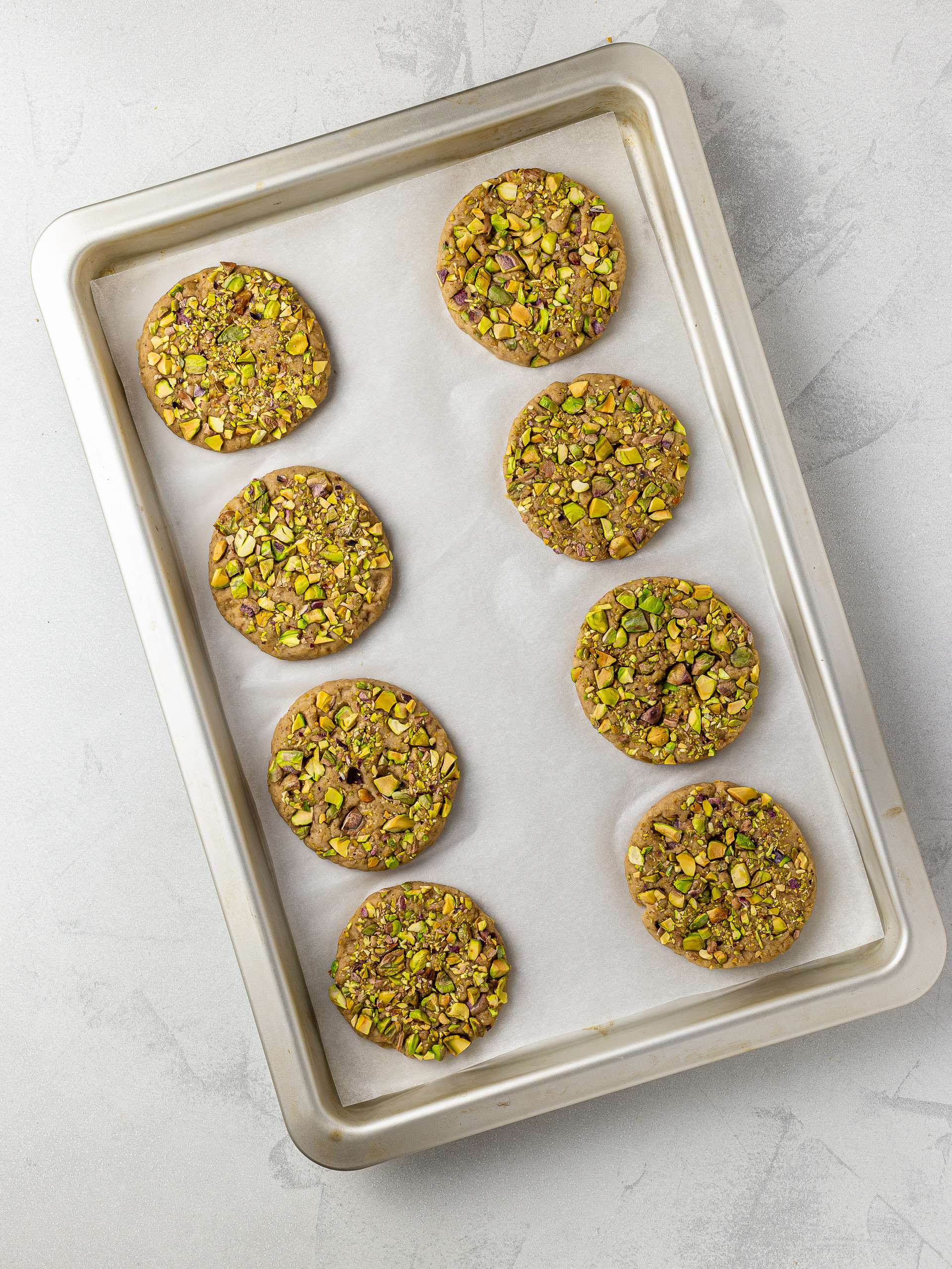 tahini cookies on a baking tray