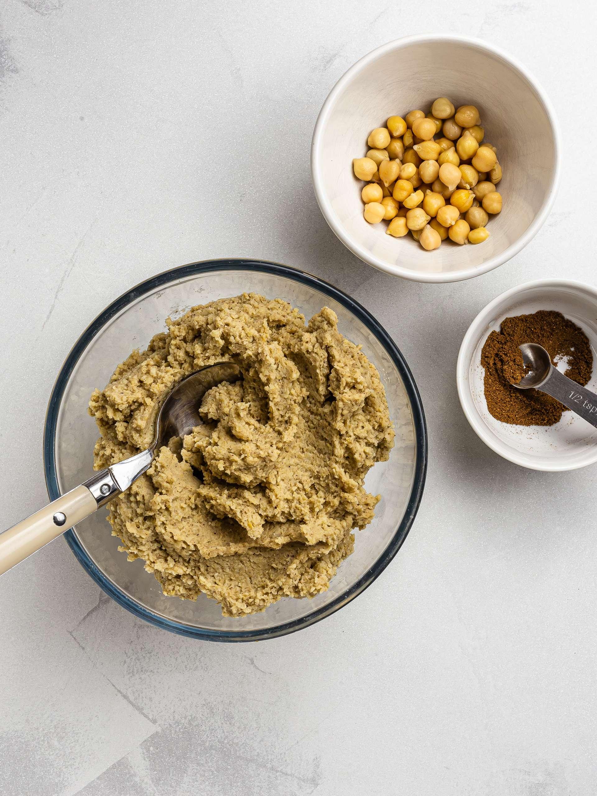 vegan kibbeh dough with chickpeas