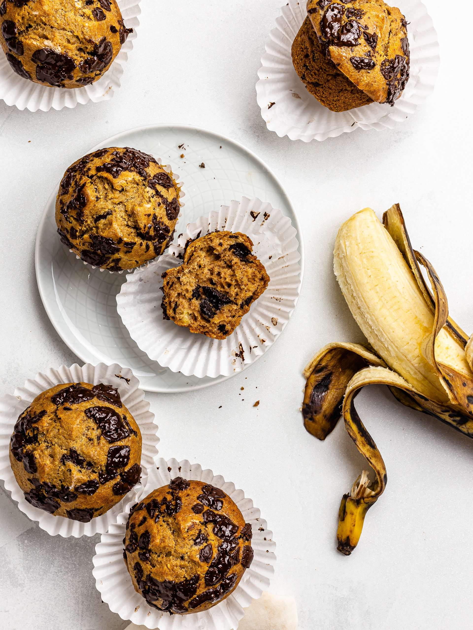 Vegan Plantain Muffins with Chocolate Chips