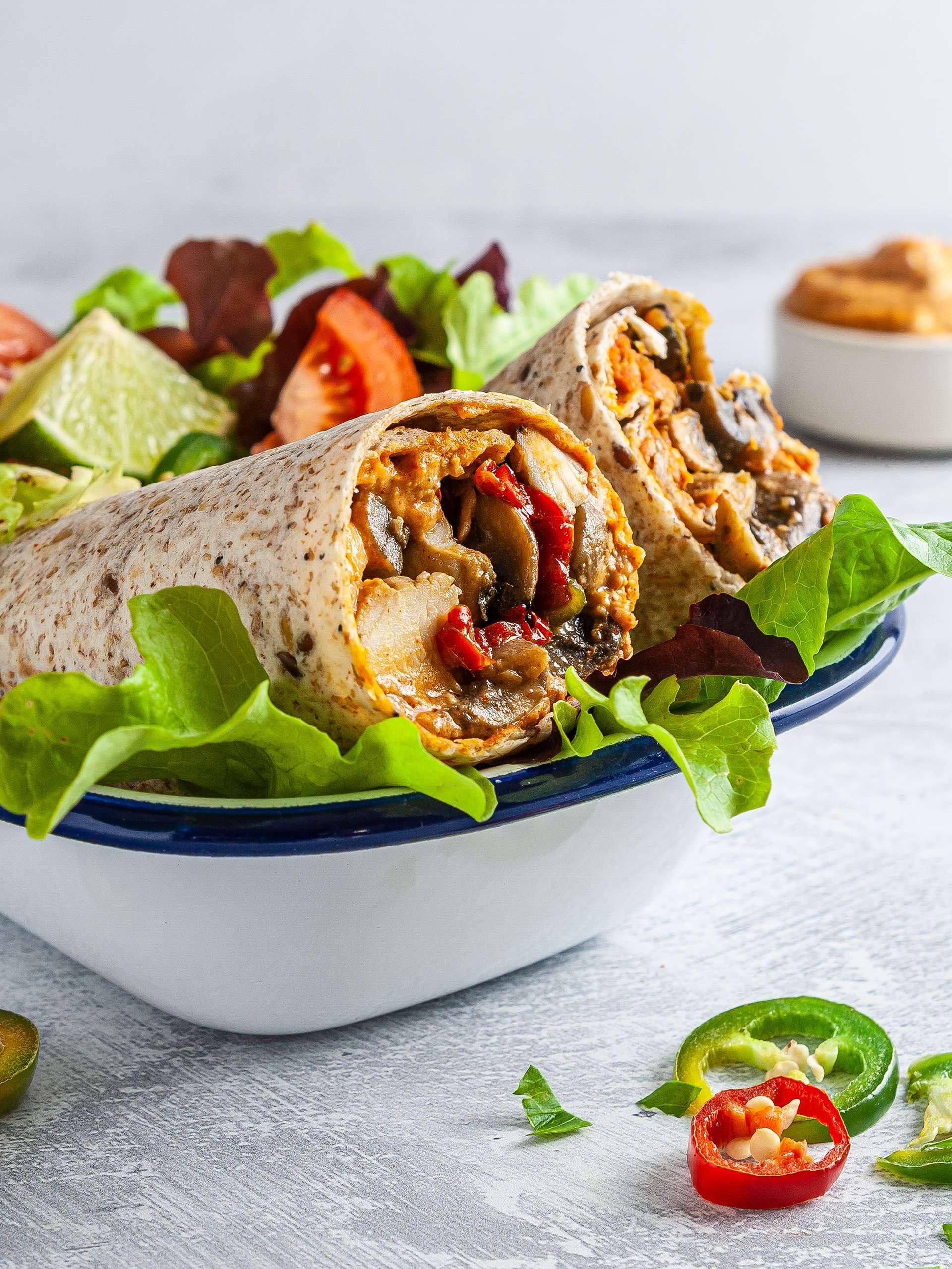 Spicy Chicken Mushroom Wrap Recipe Thumbnail