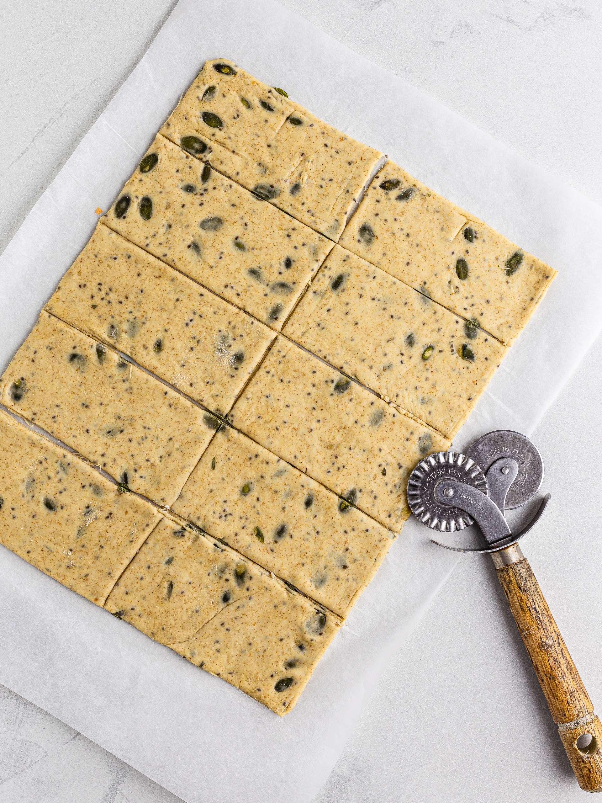 spelt crackers dough cut into rectangles