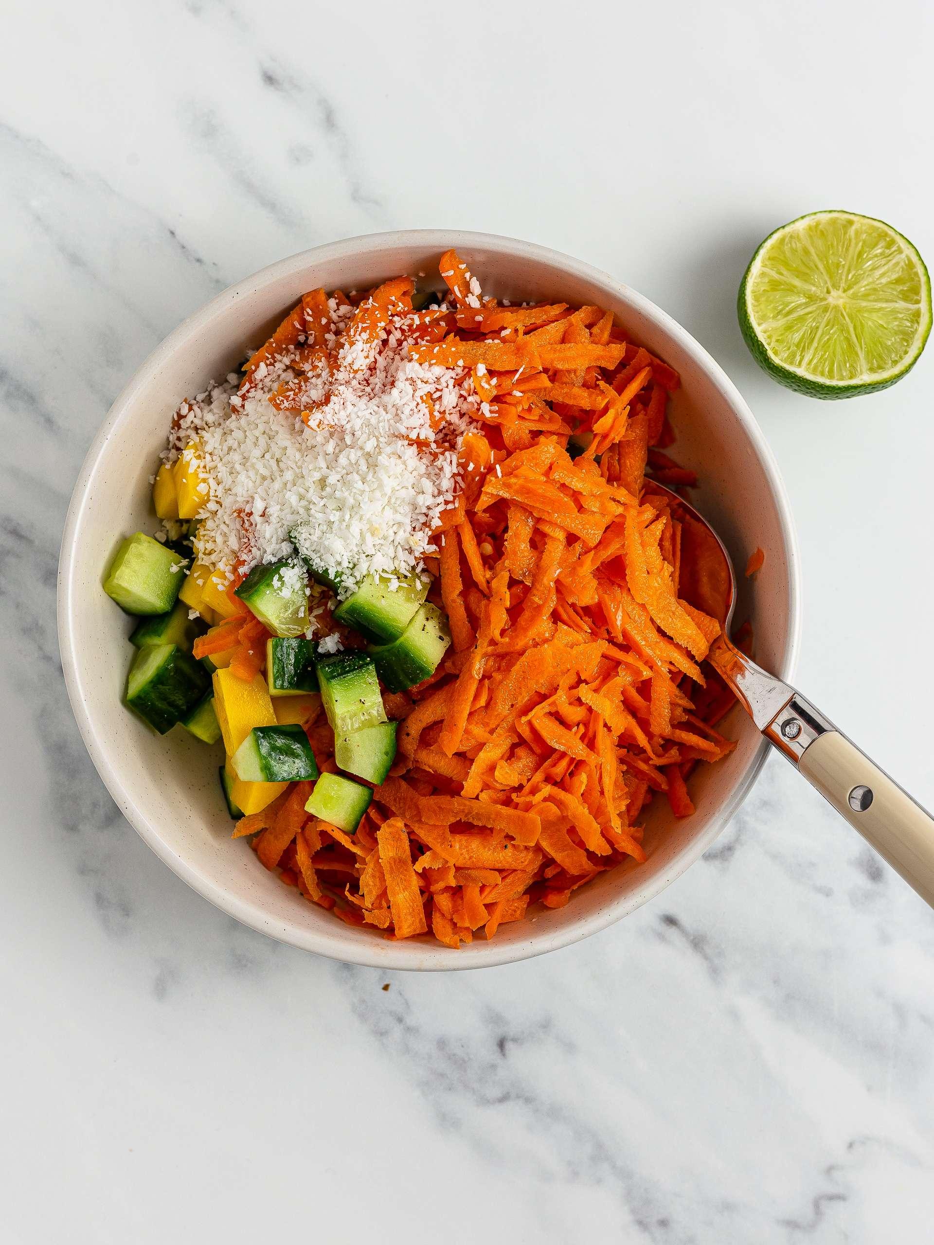 carrot kosambari salad with coconut and lime