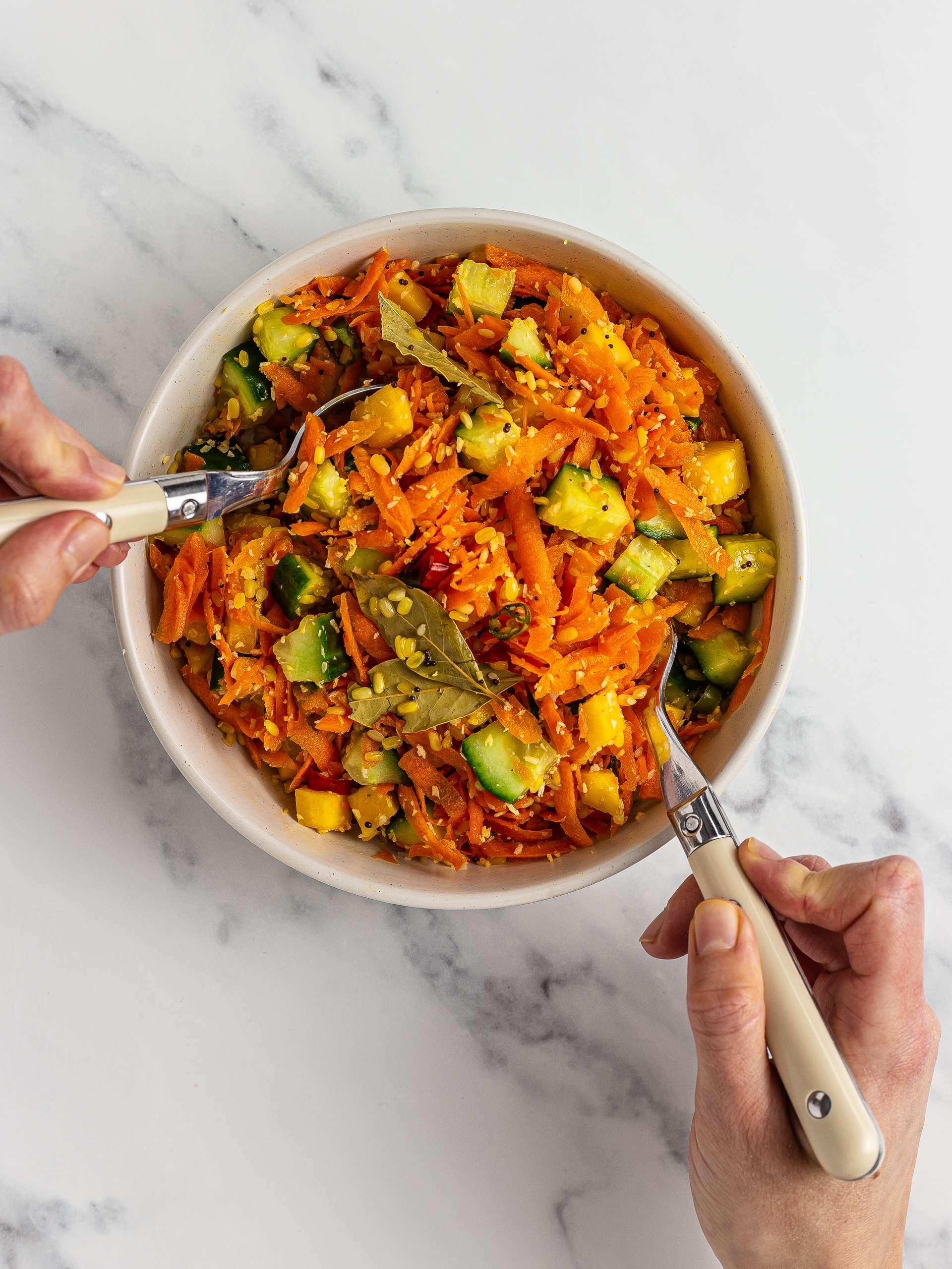 carrot kosambari salad with mung dal