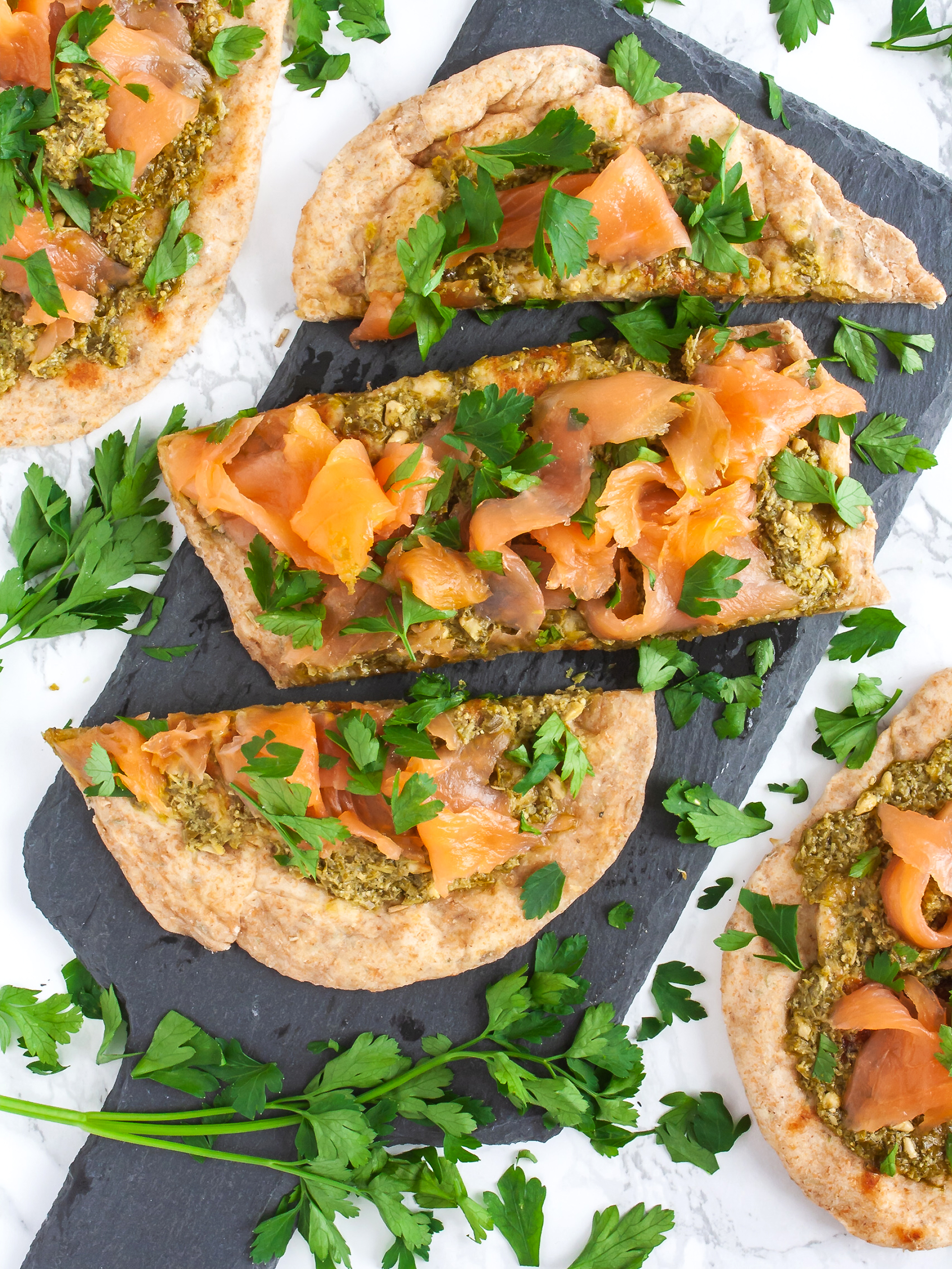 Smoked Salmon Flatbread with Pesto Recipe Thumbnail