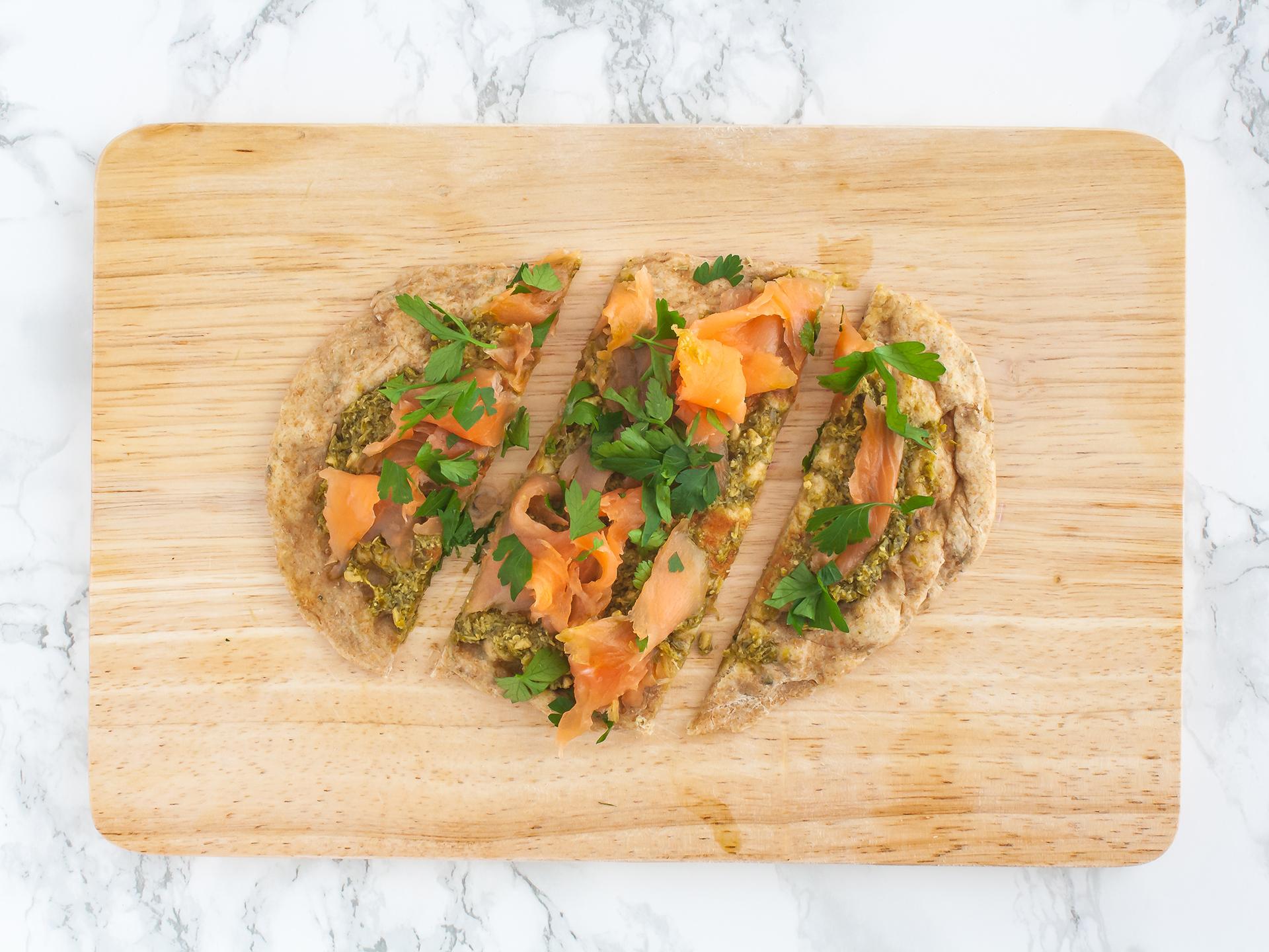 Step 4.1 of Smoked Salmon Flatbread with Pesto Recipe