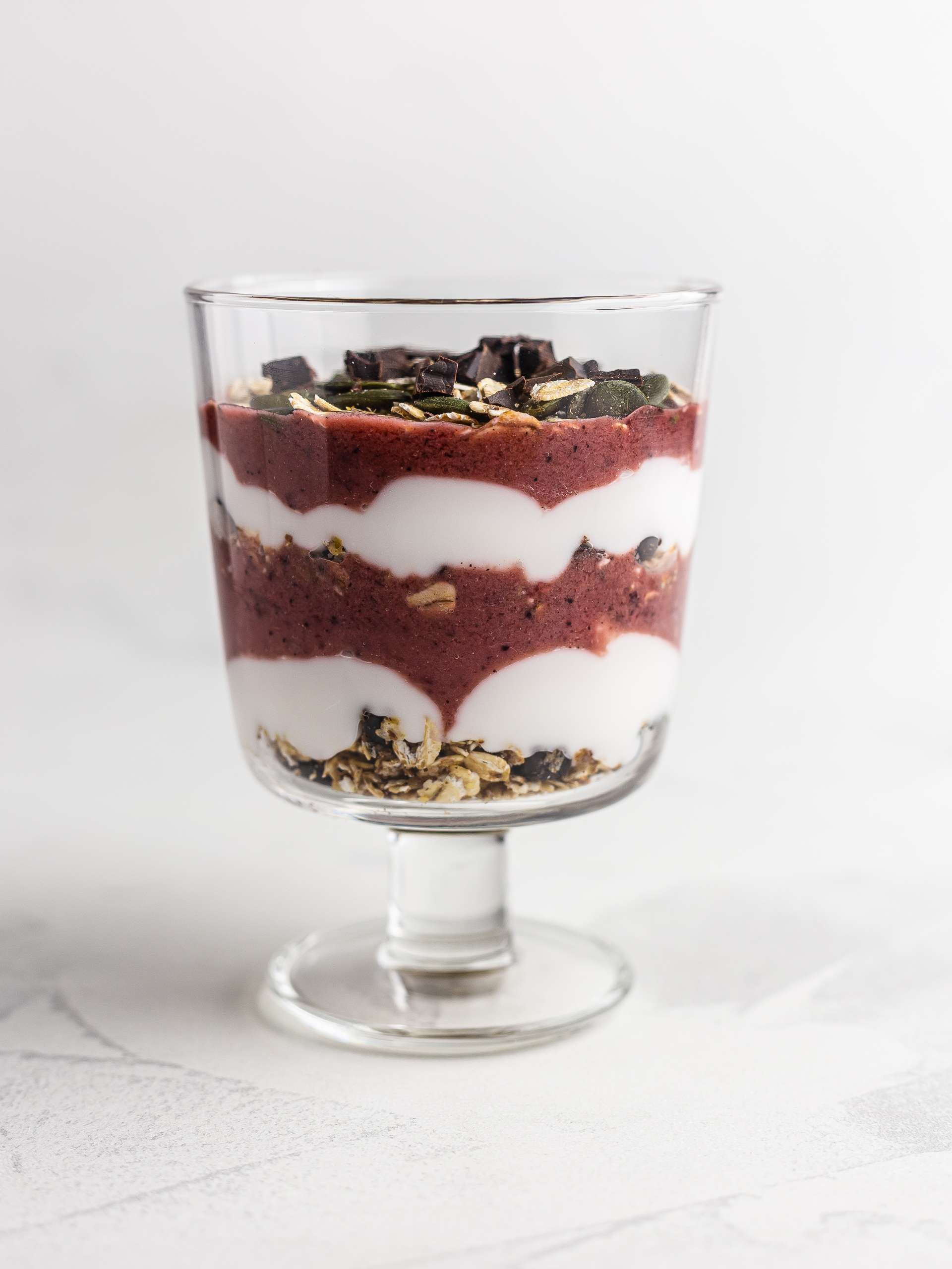 chocolate cherry parfait in a glass