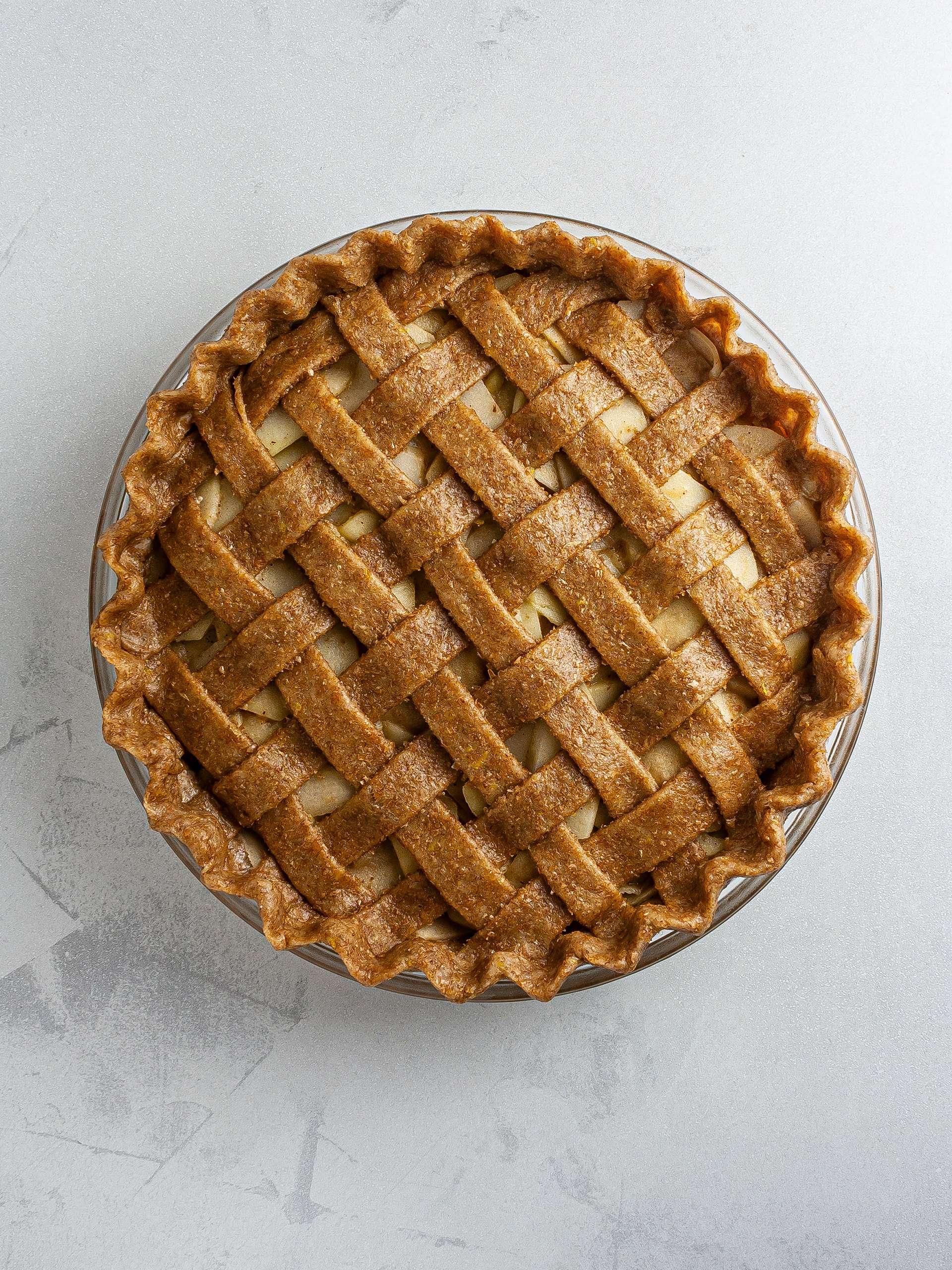 Apple pie with woven lattice crust