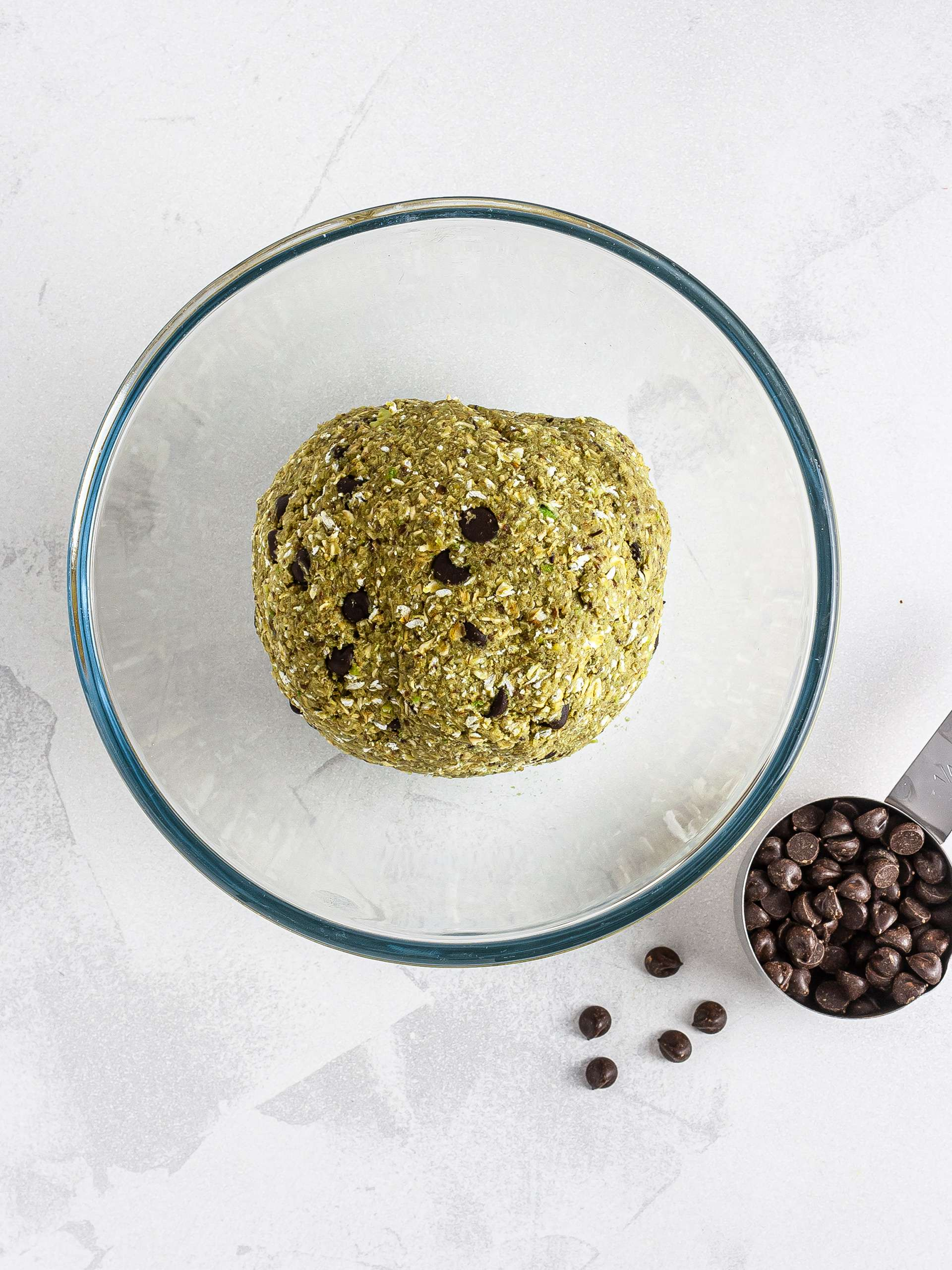Matcha cookie dough with chocolate chips