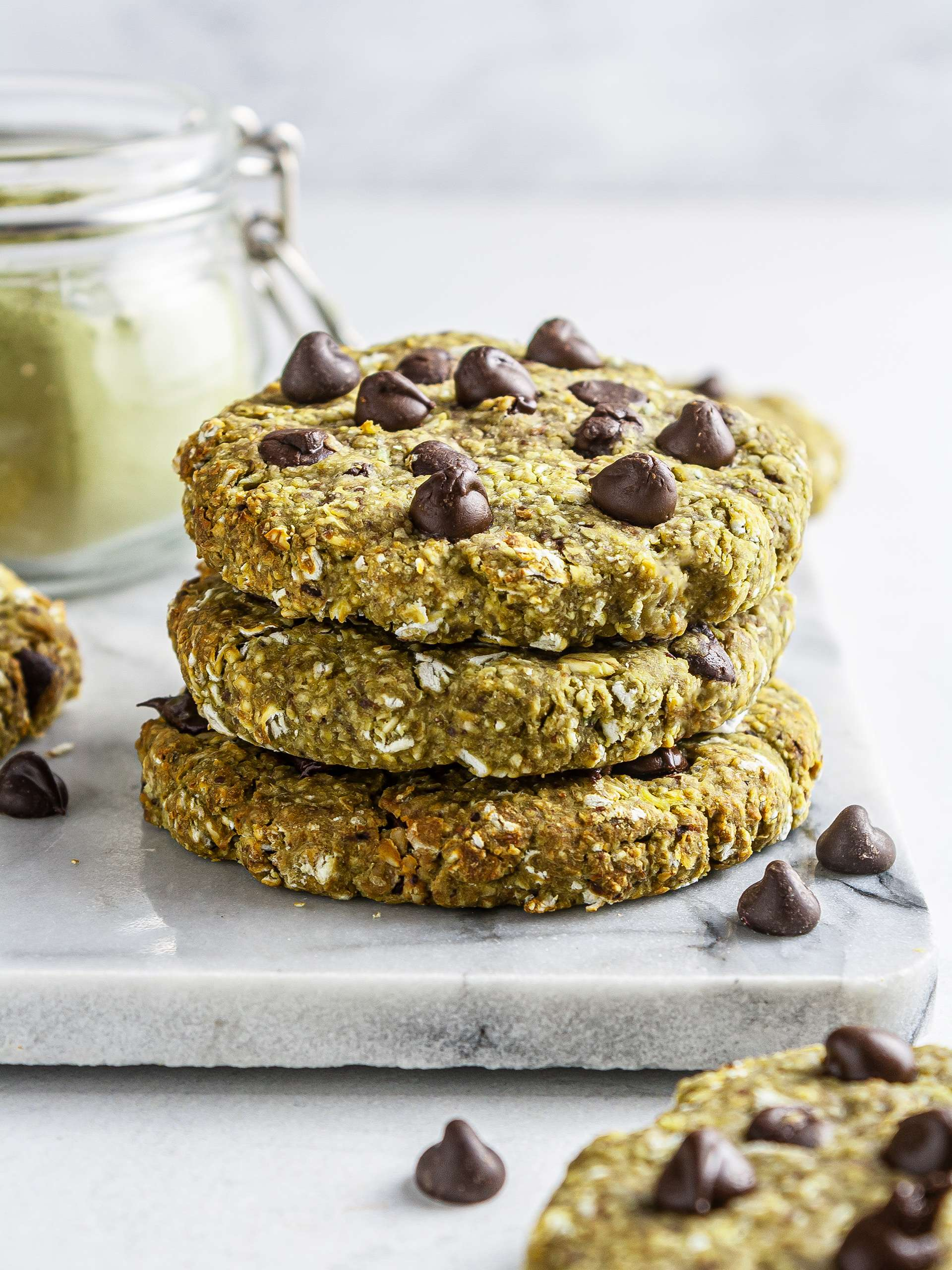 {Vegan, GF} Matcha Chocolate Chip Cookies Recipe Thumbnail