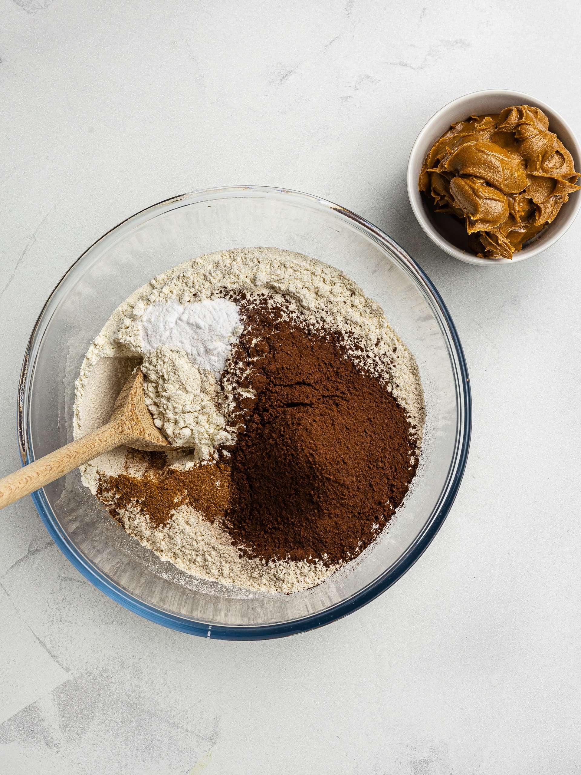 vegan biscoff cake ingredients in a bowl