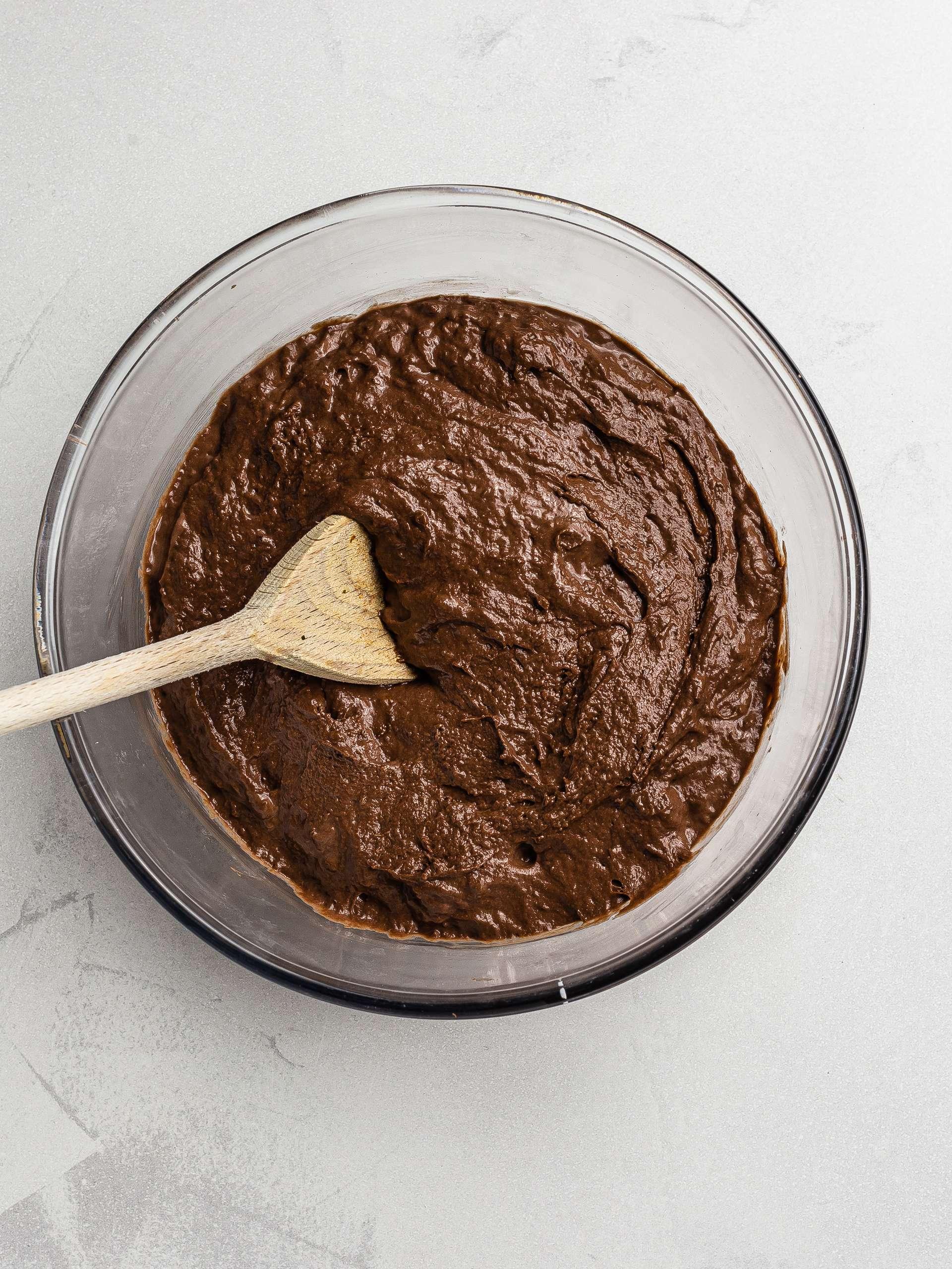 vegan chocolate cake batter in a bowl