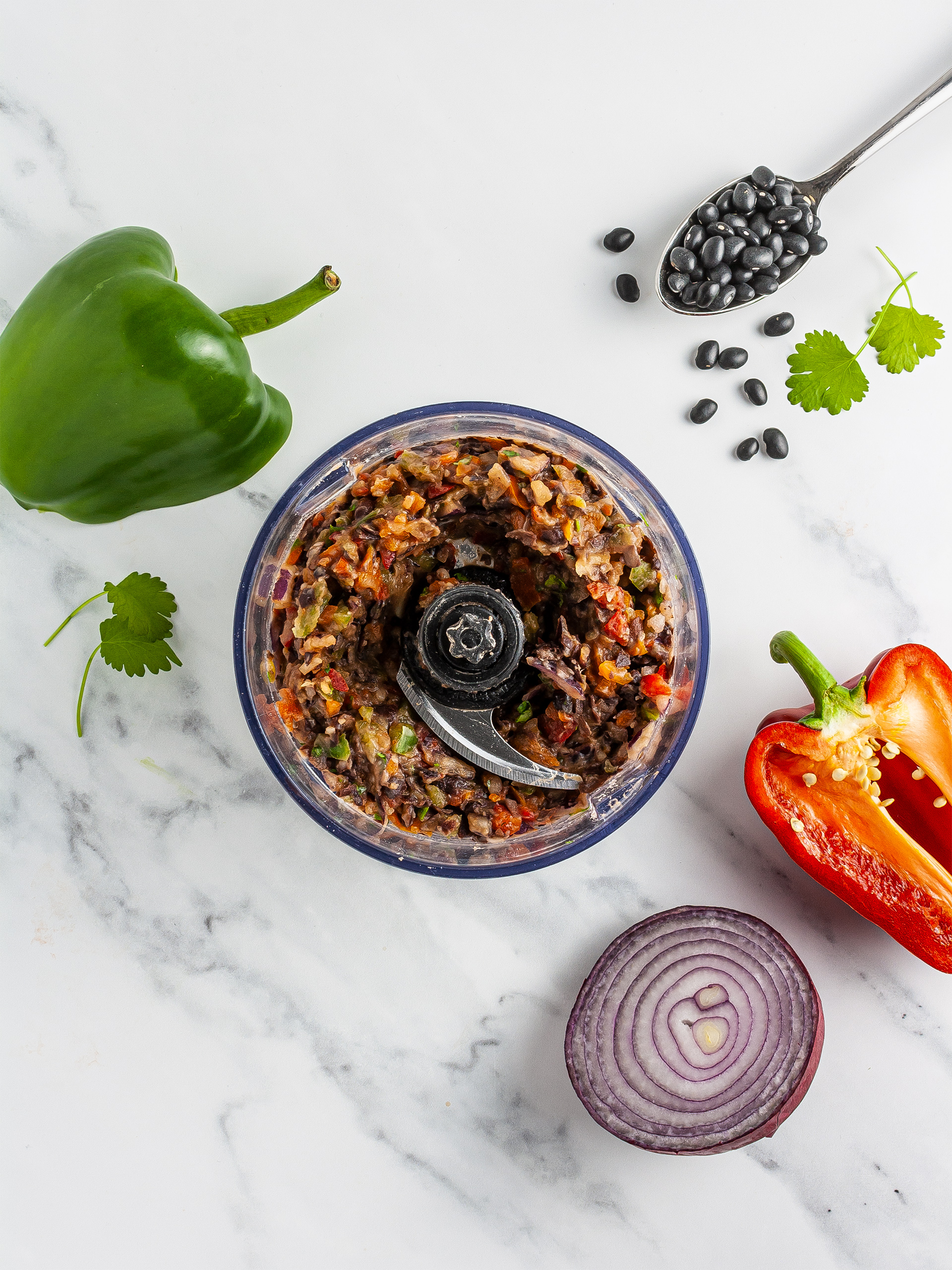 Black bean blended with peppers, onions, and coriander