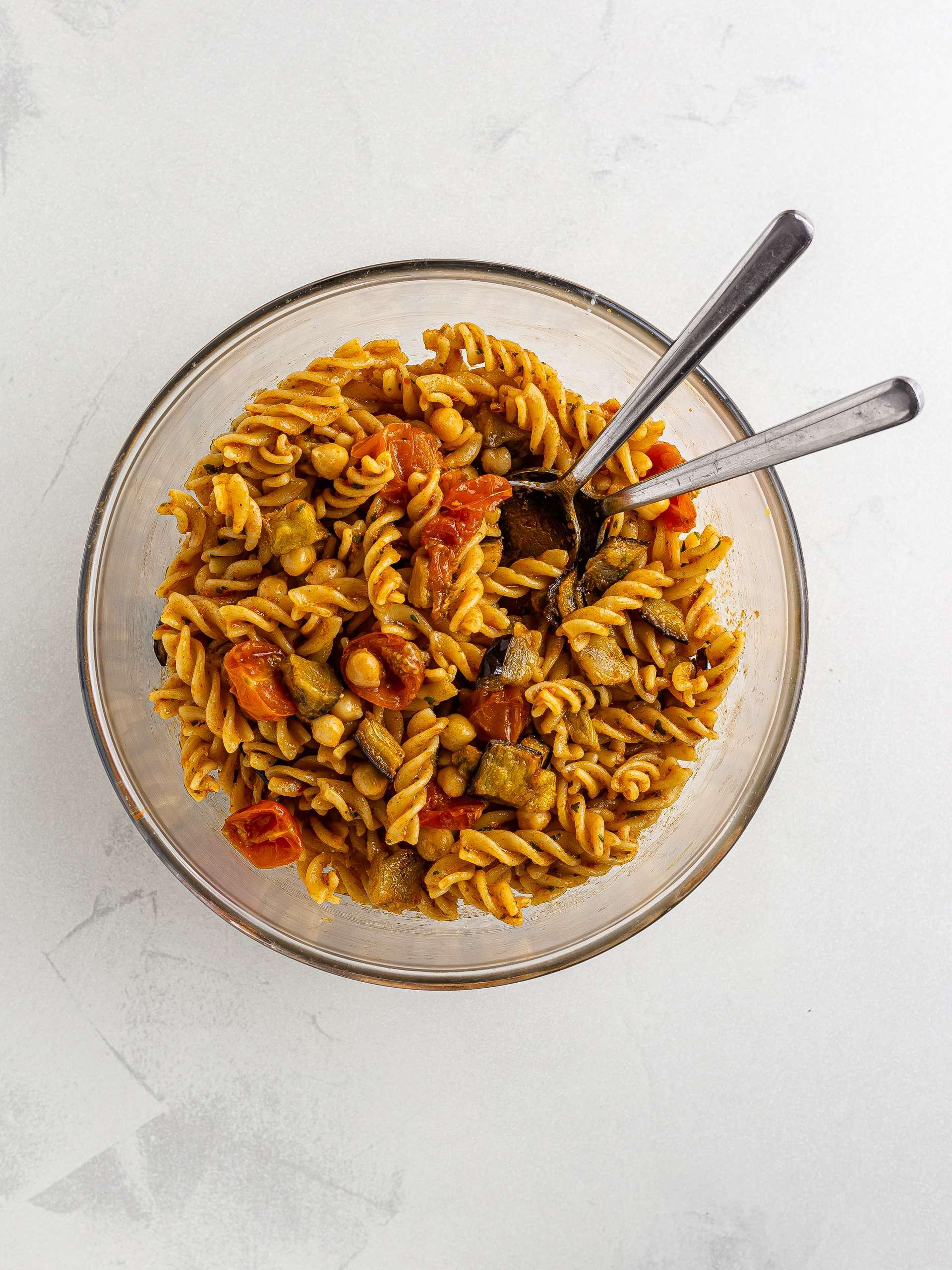 harissa pasta salad with chickpeas and aubergines