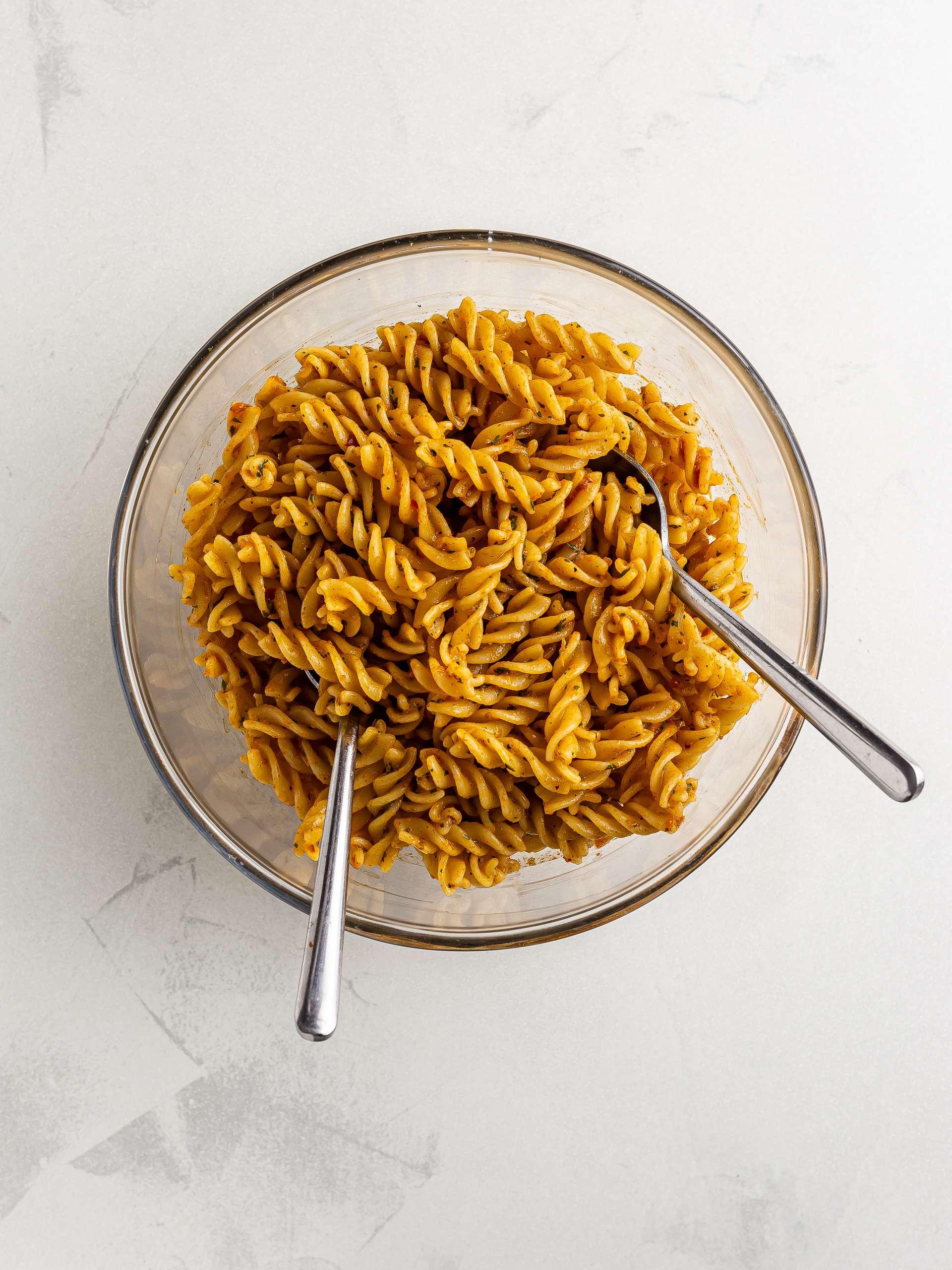 harissa pasta salad in a bowl