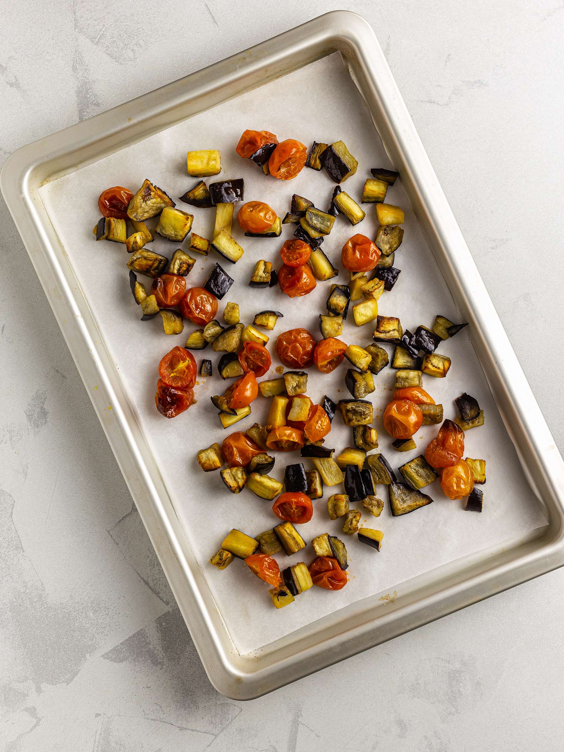roasted tomatoes and aubergines