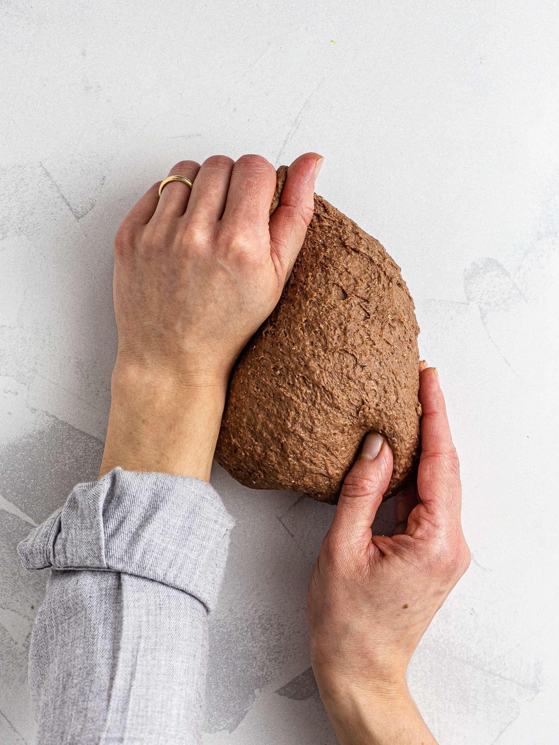 kneading the vegan cannoli shell dough