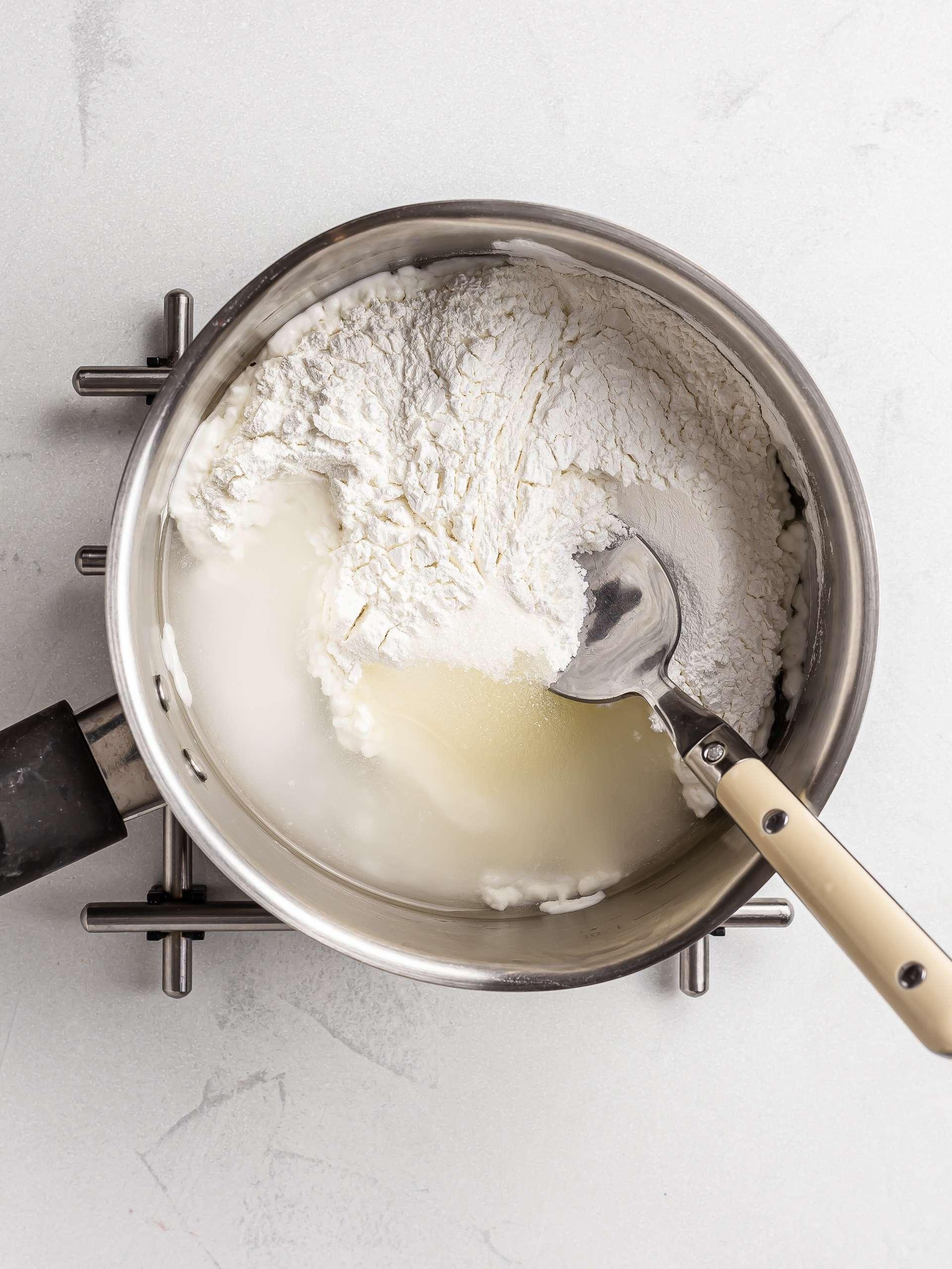 mochi ingredients in a pot