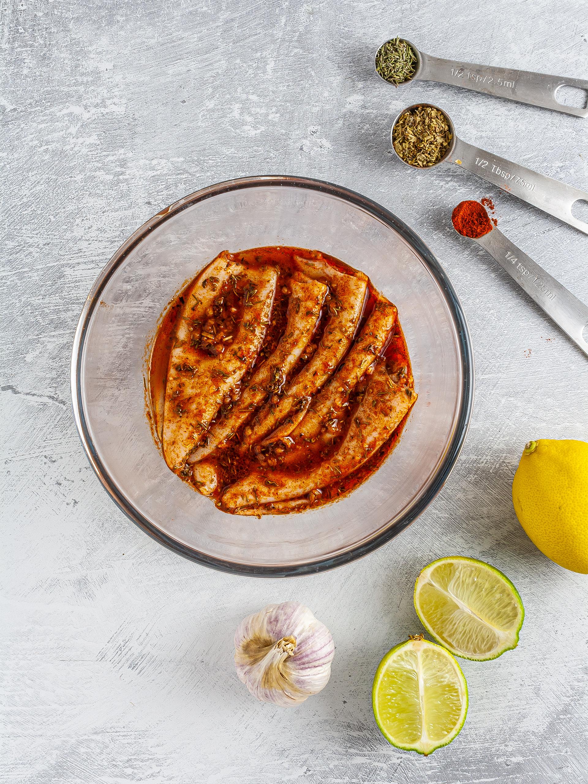 Squid marinated in Cajun seasoning