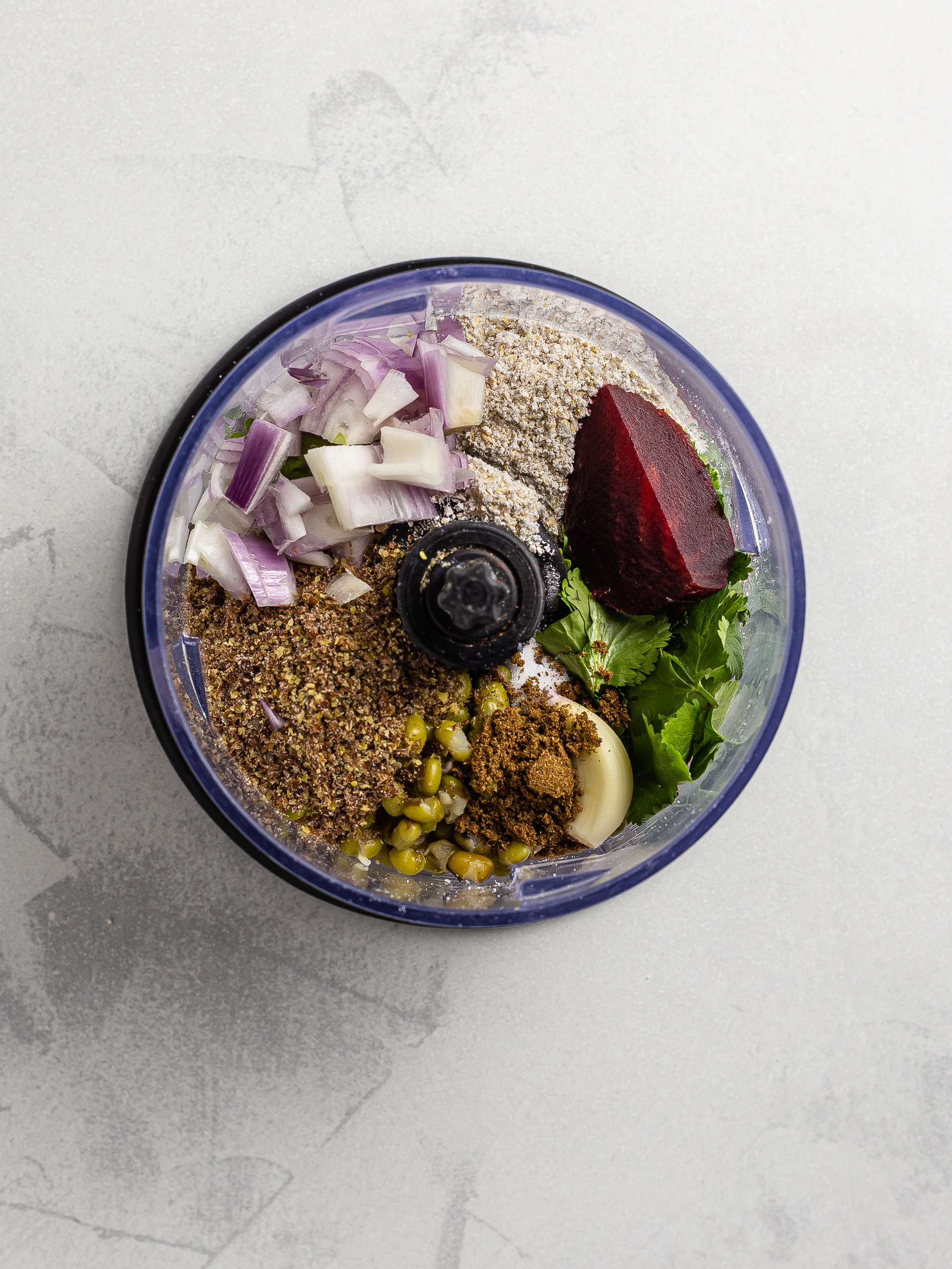 mung bean burger ingredients in a blender