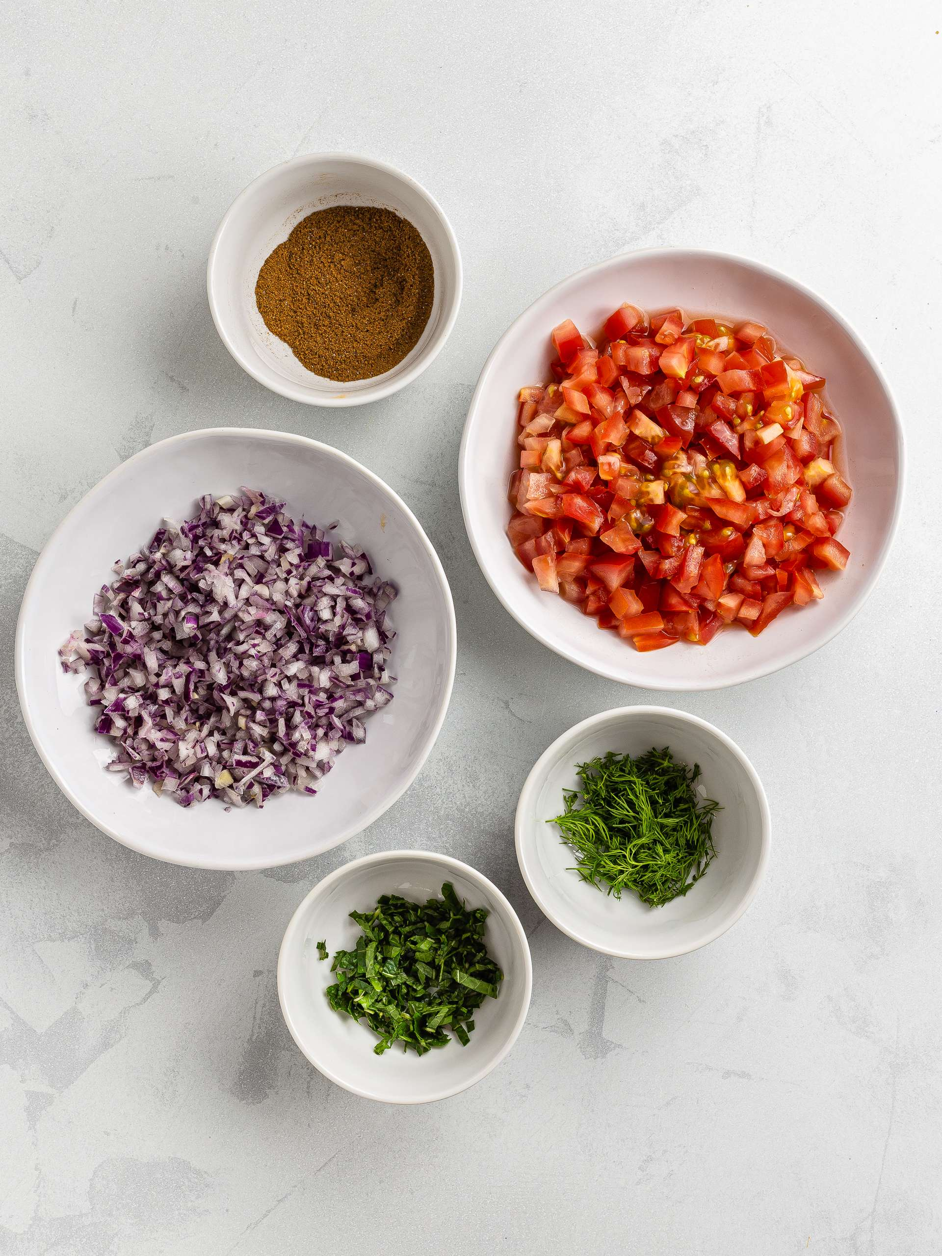 chopped vegetables for cabbage roll filling