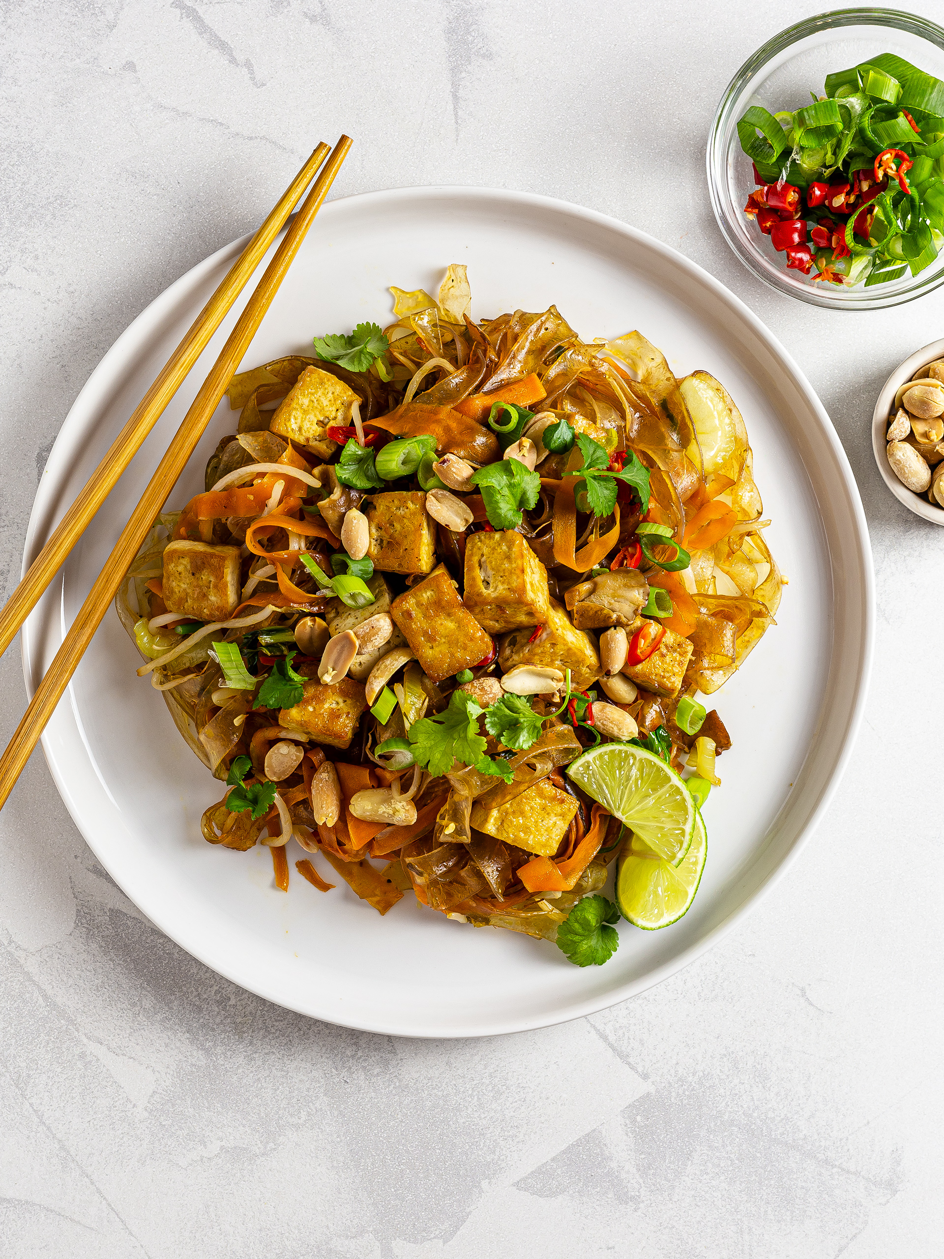 Tofu pad thai with peanuts, spring onions and bird eye chillies