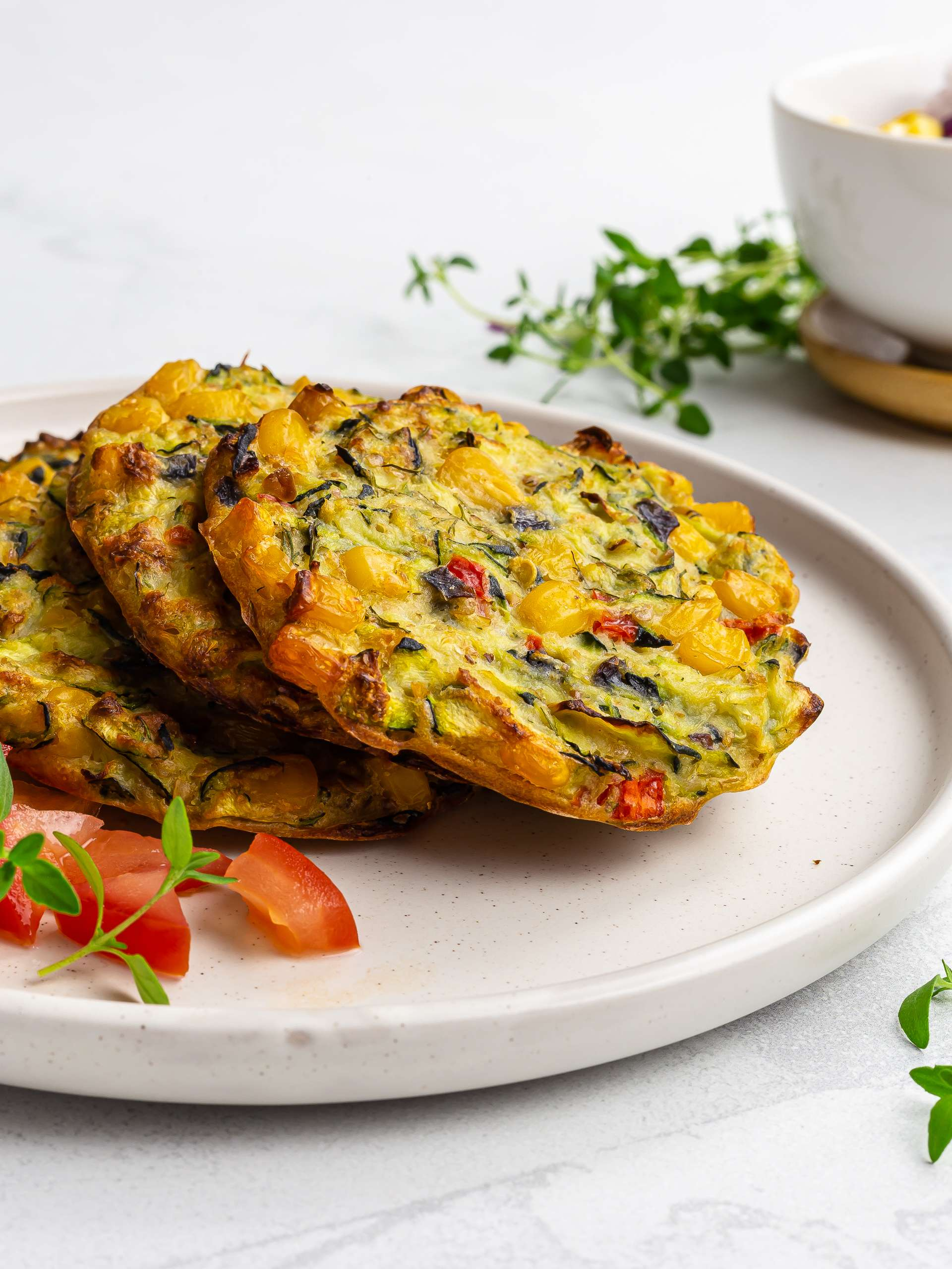 Courgette and Sweetcorn Fritters (Vegan, Oven-Baked) Thumbnail