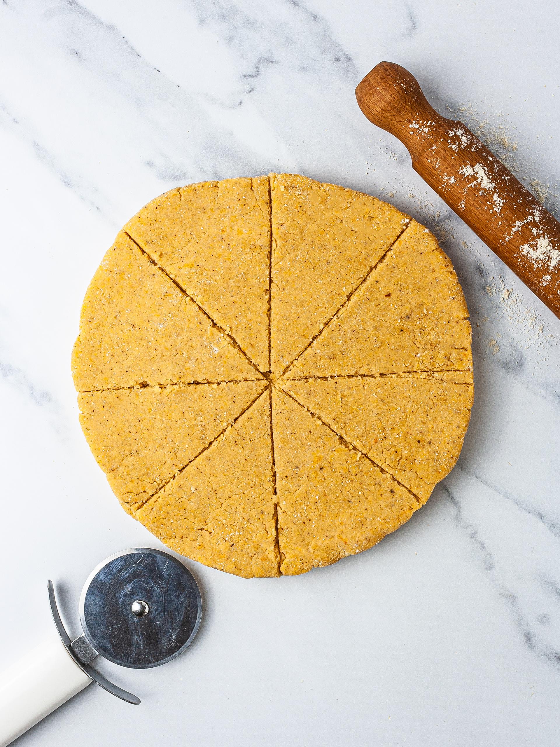 Keto pumpkin scones dough sliced