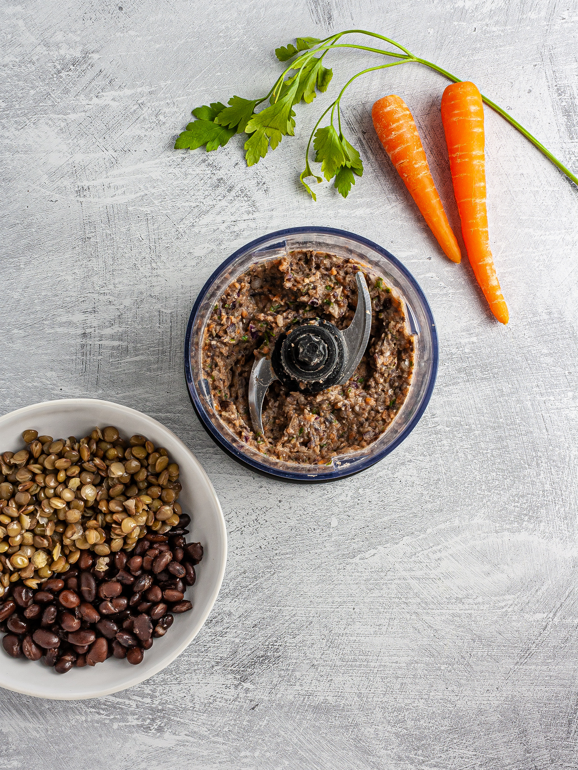 Black beans and lentils blended with carrots and parsley
