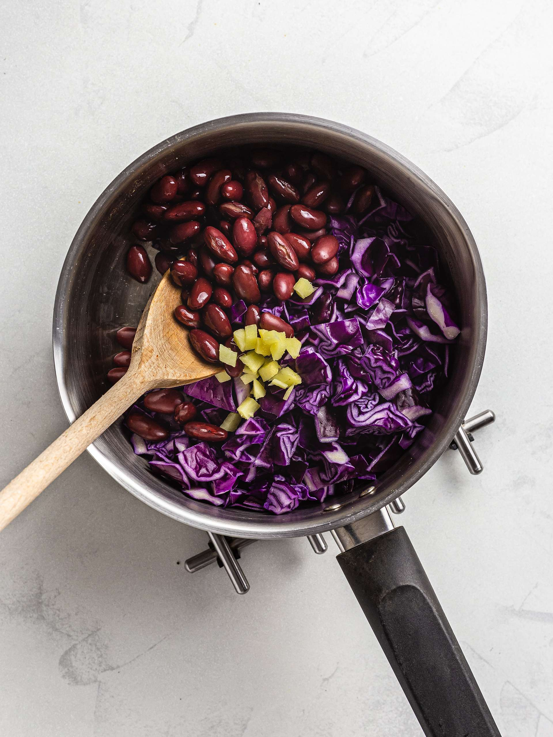 red cabbage and beans stew in a pot