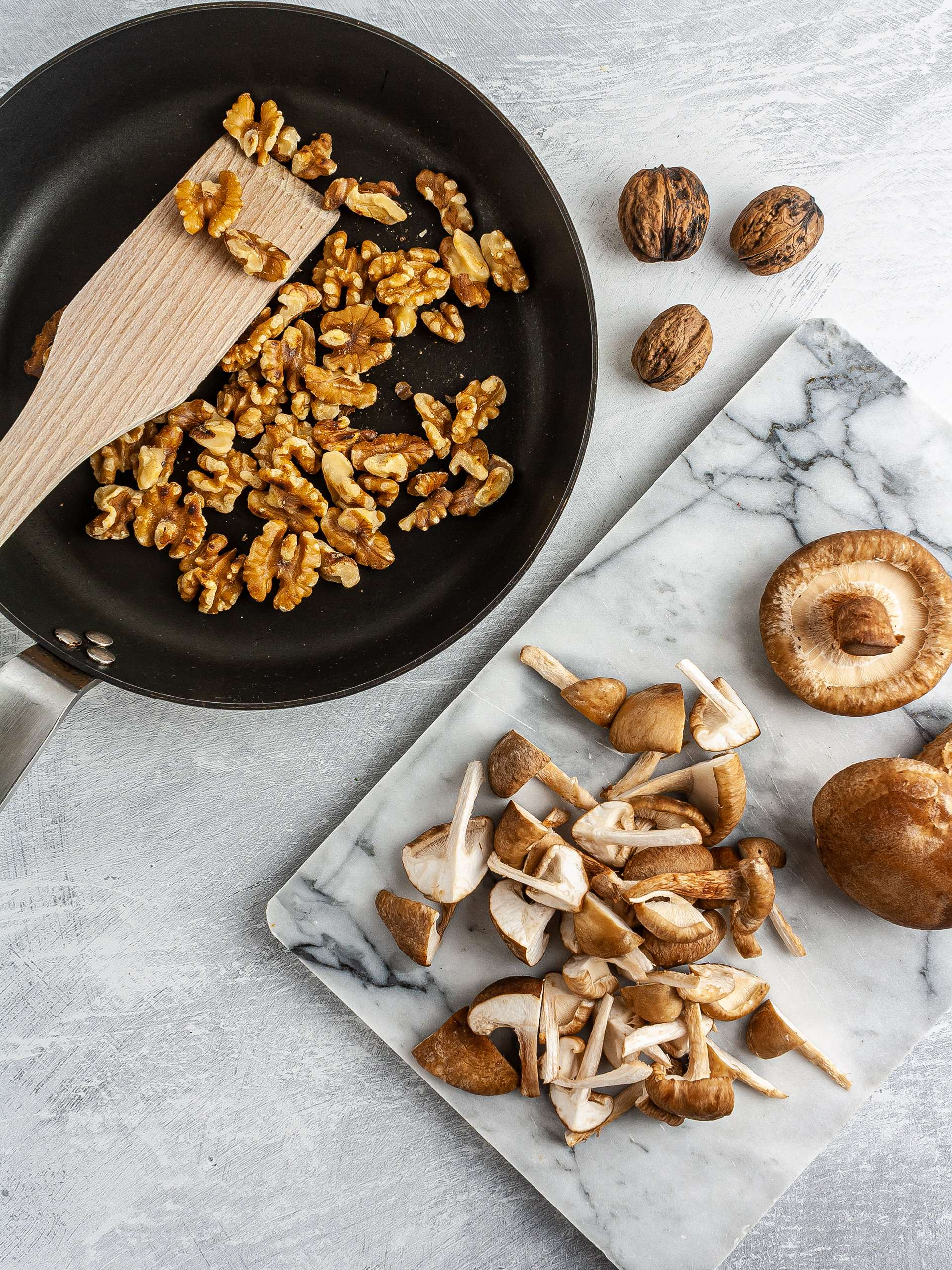 Toasted walnuts and chopped mushrooms