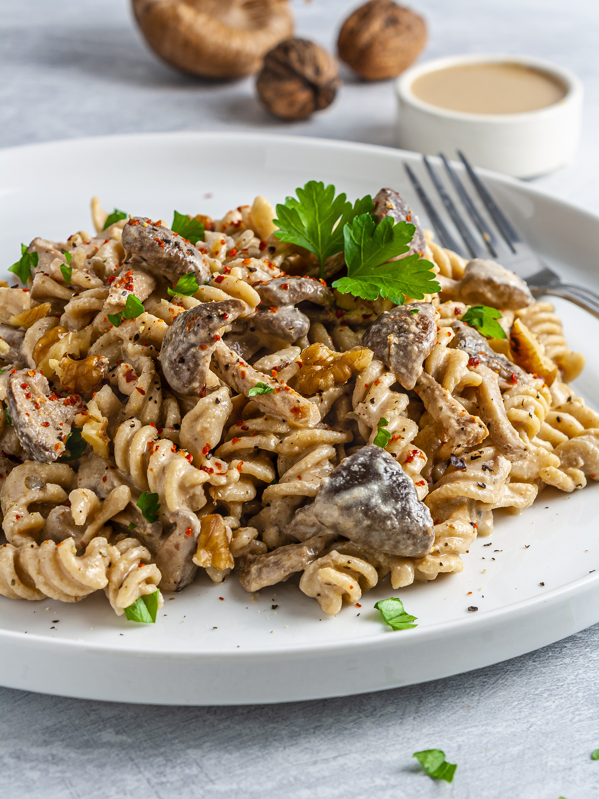 Vegan No Cream Tahini Pasta with Mushrooms Thumbnail