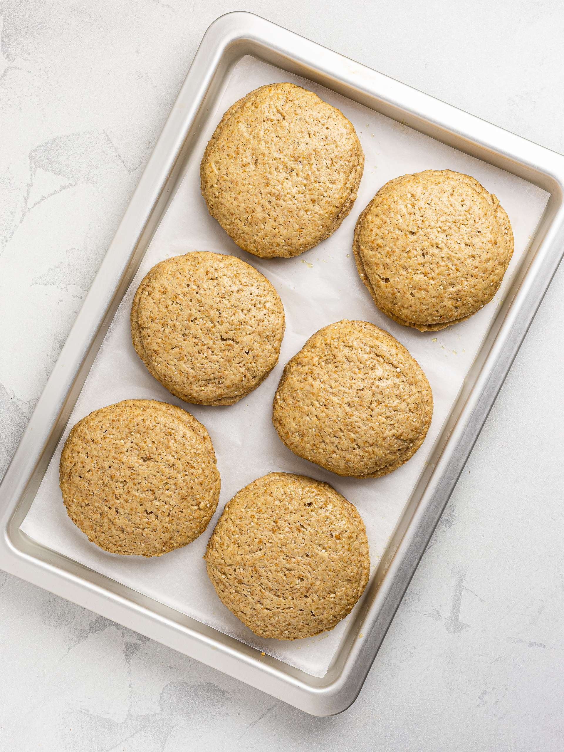 proved barley rusks in a tray