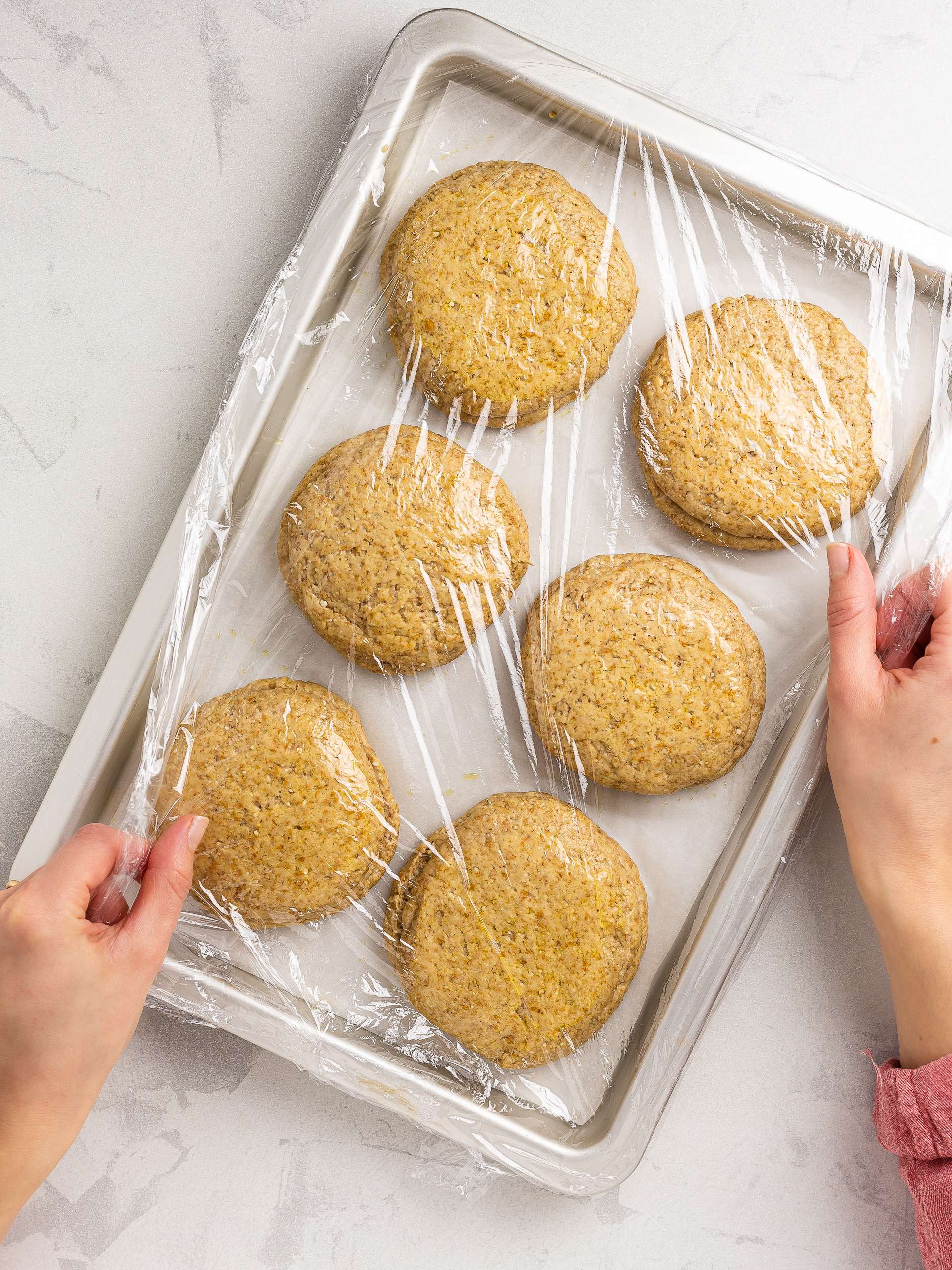 barley rusks proving in a tray
