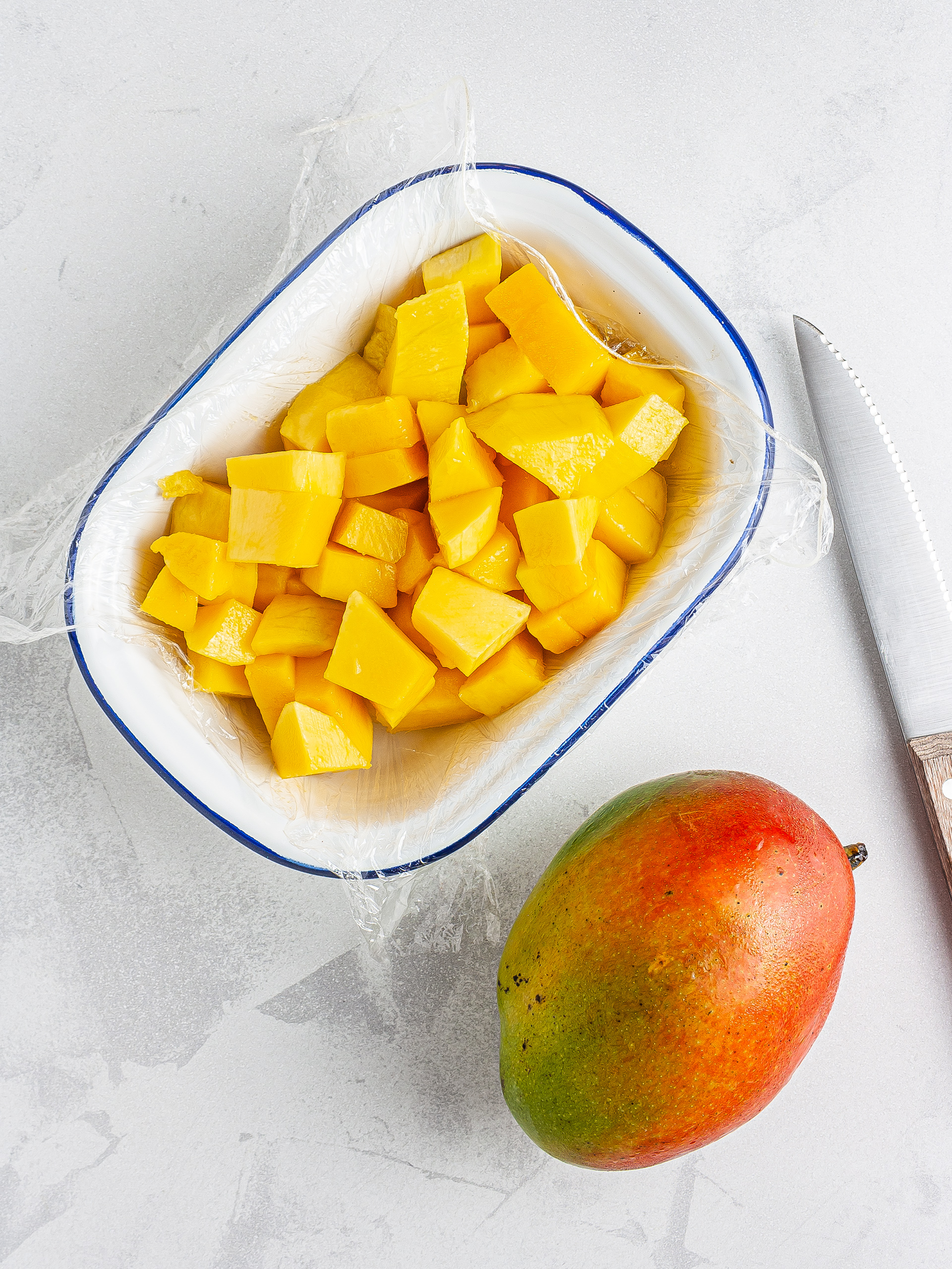 Chopped mangoes