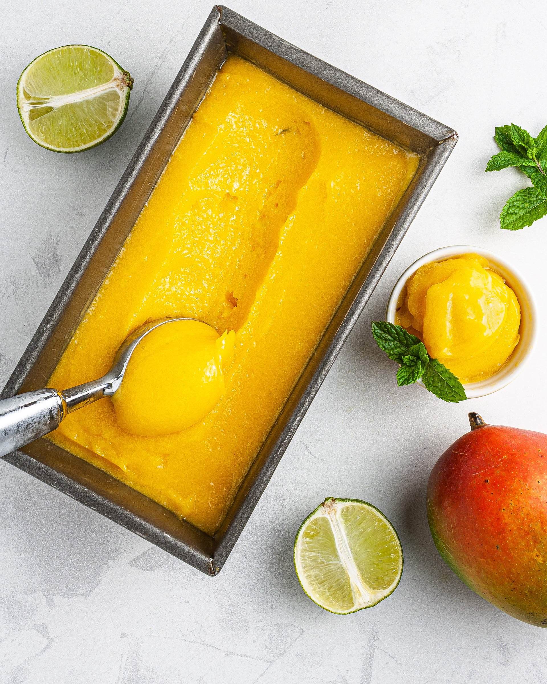 {Sugar-Free, Vegan} Mango Sorbet Recipe Thumbnail
