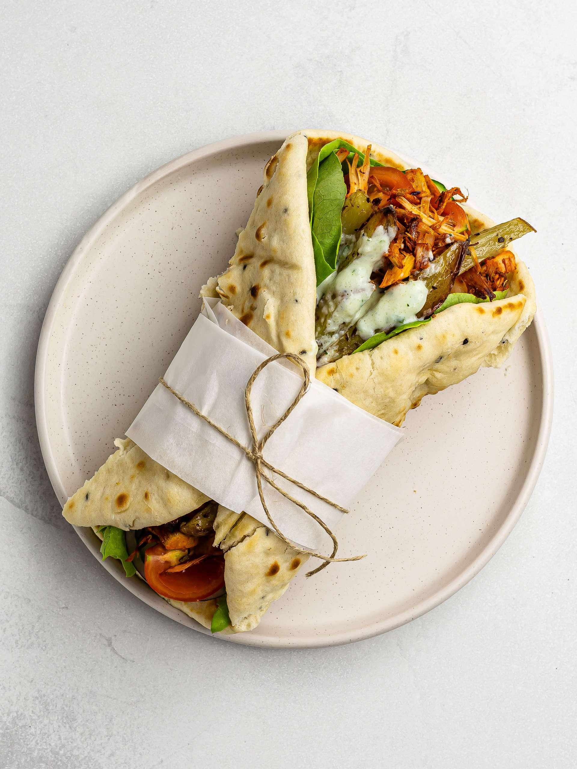 jackfruit gyros wrap on a plate