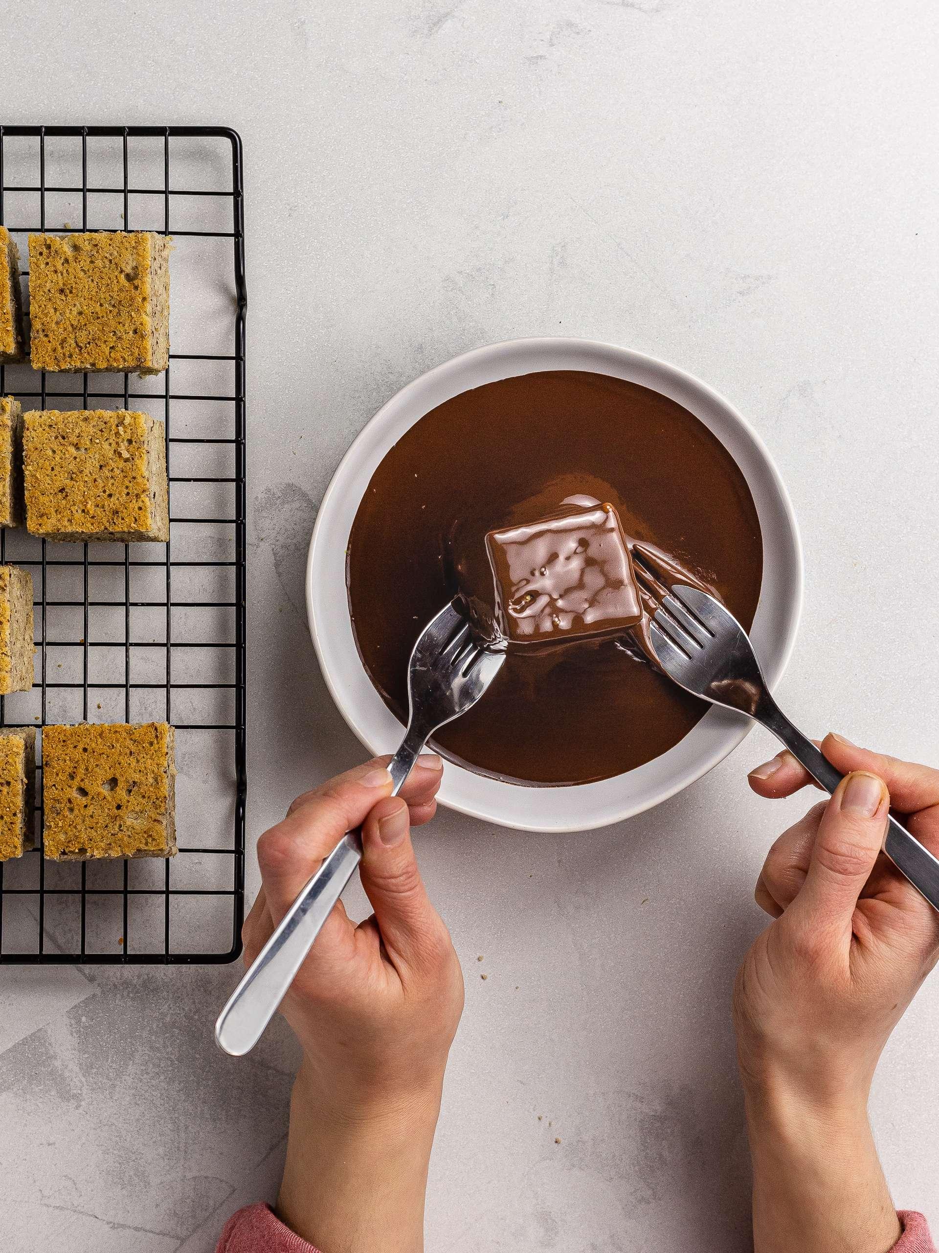 lamington squares coated with dark chocolate