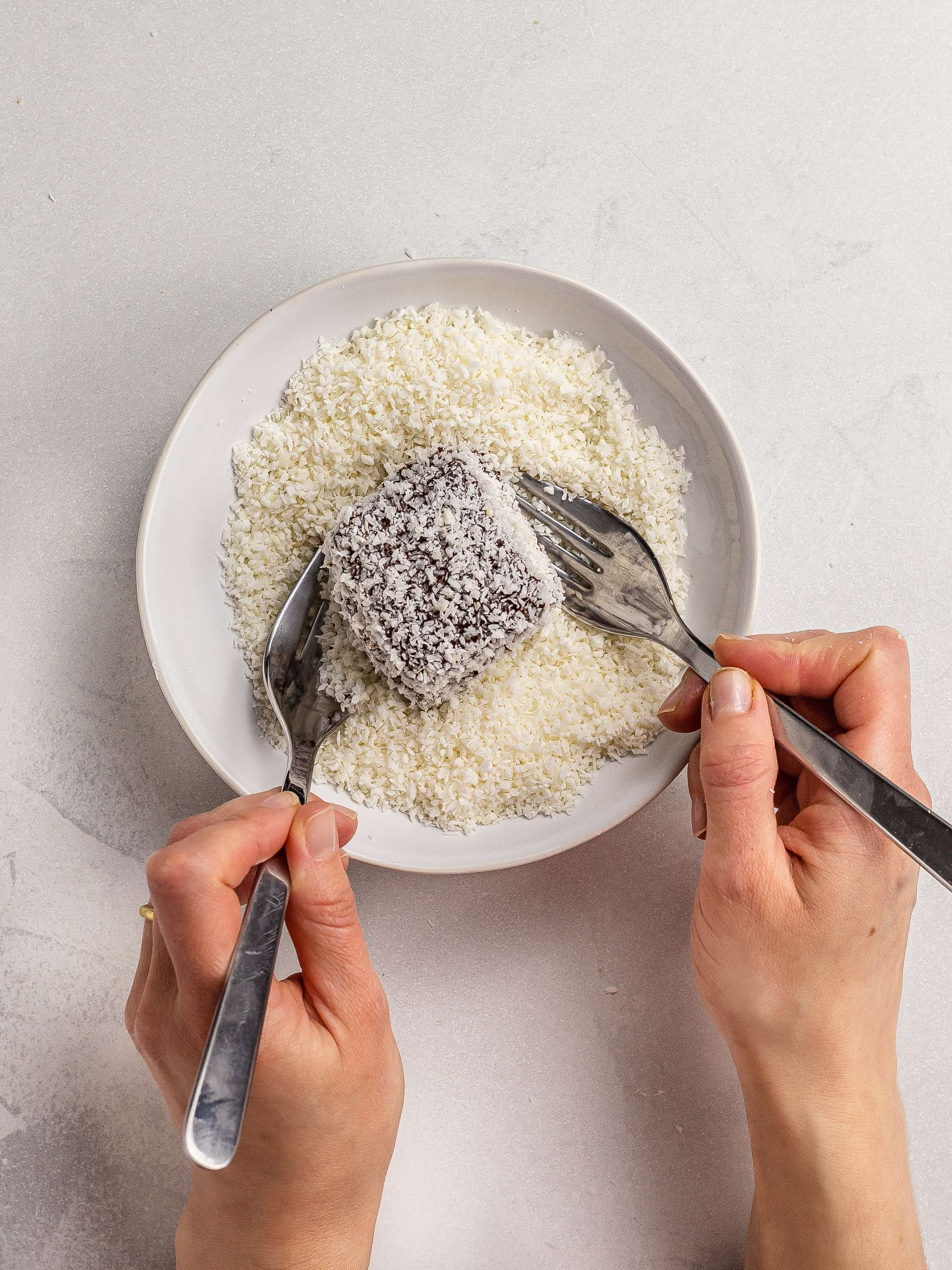 lamingtons coated with desiccated coconut