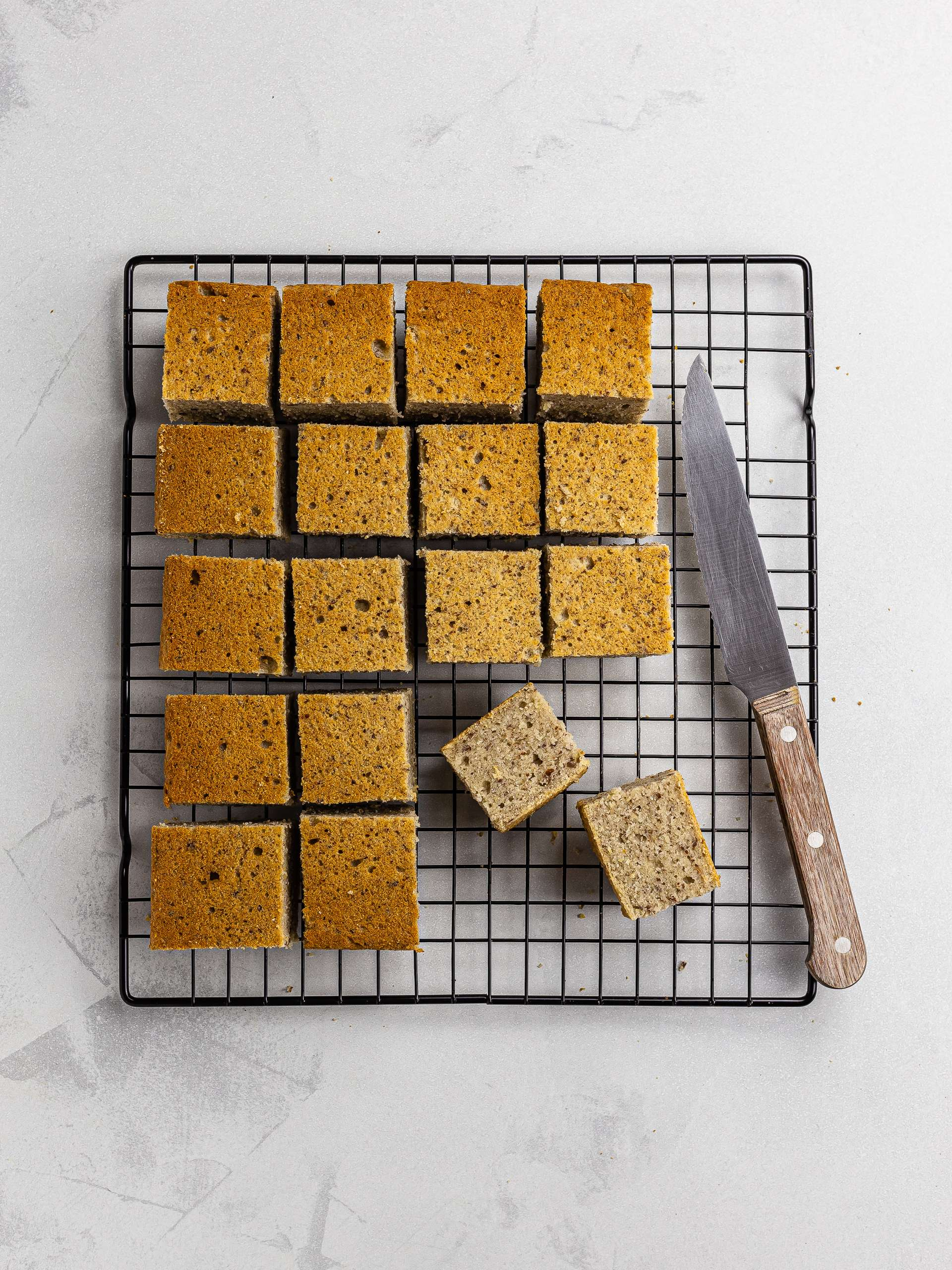 sliced lamington cake squares