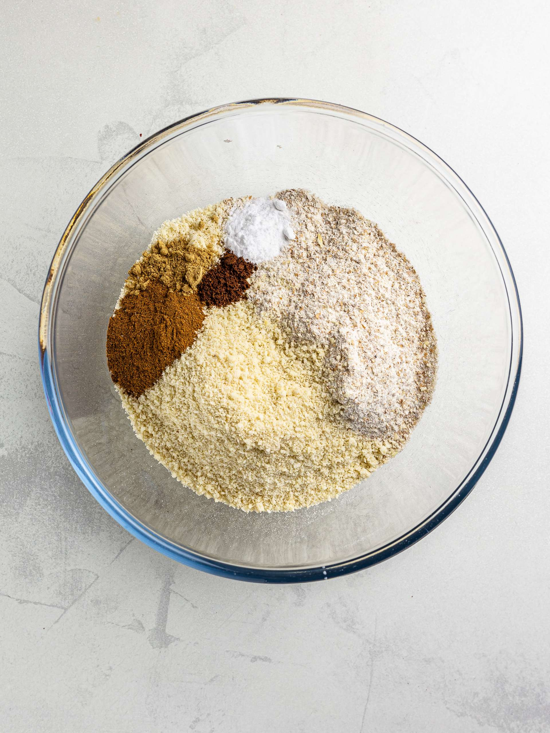 flour and cinnamon in a bowl for cookie dough