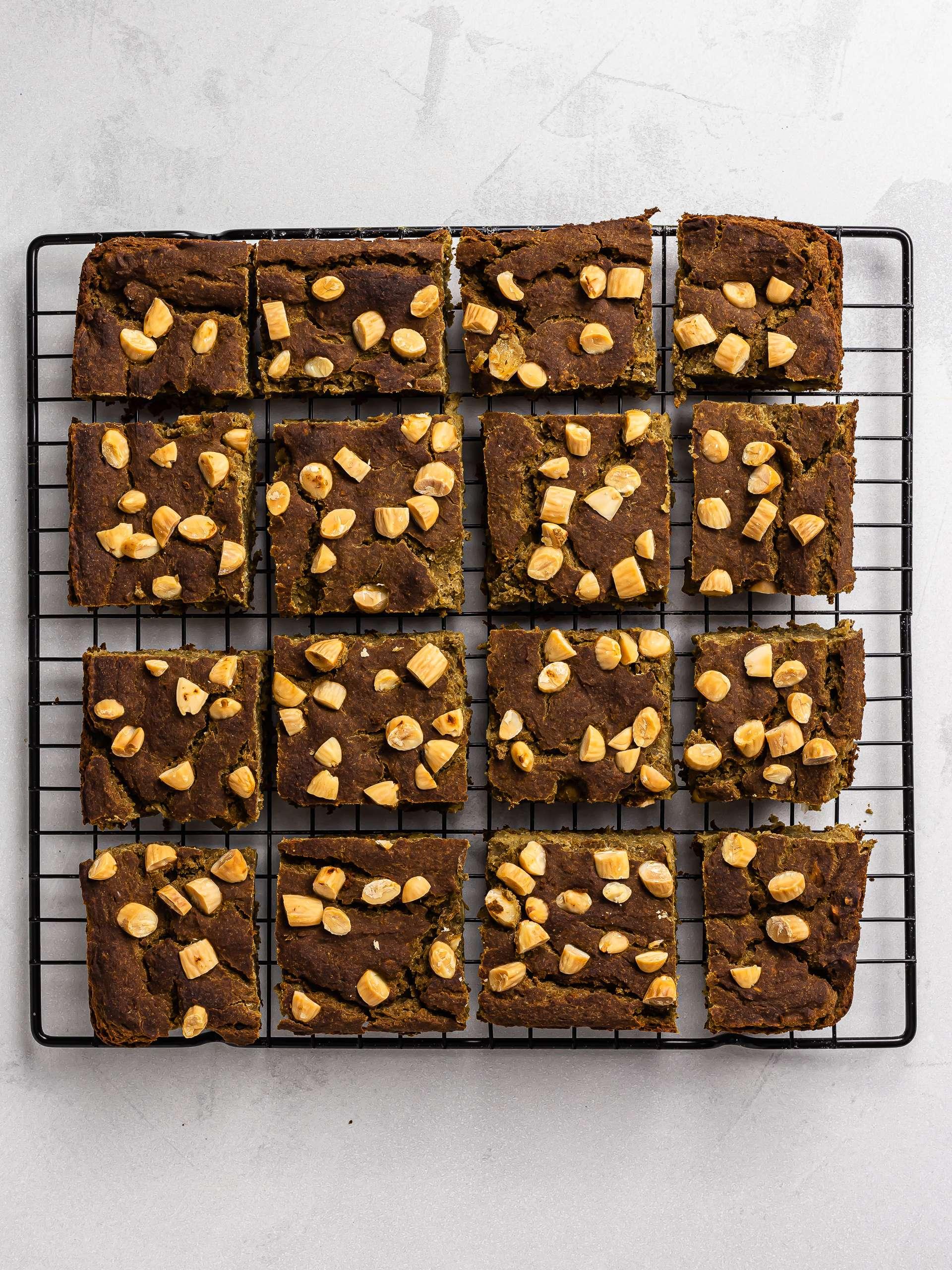 baked matcha brownies on a rack