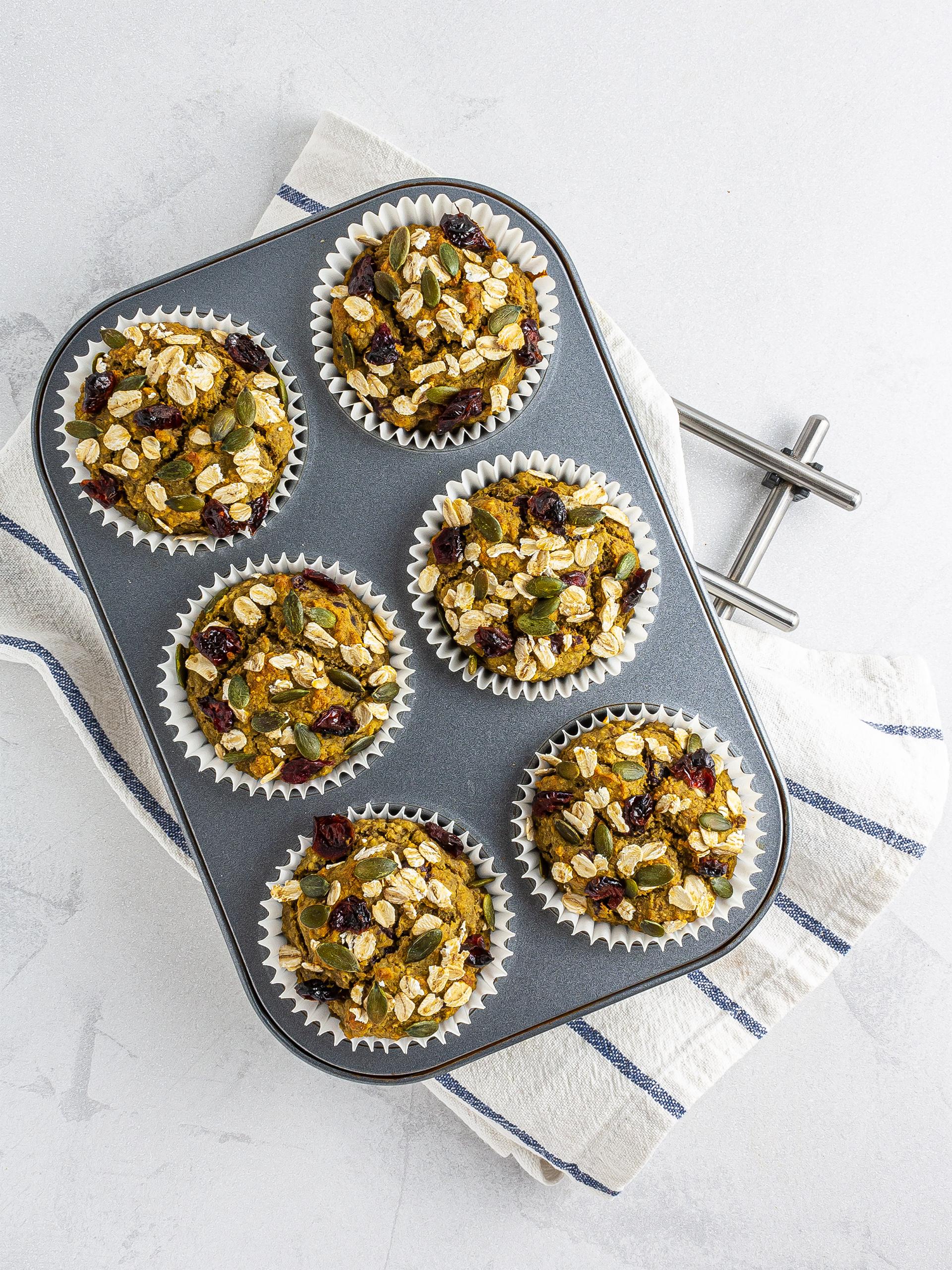 Baked banana avocado muffins