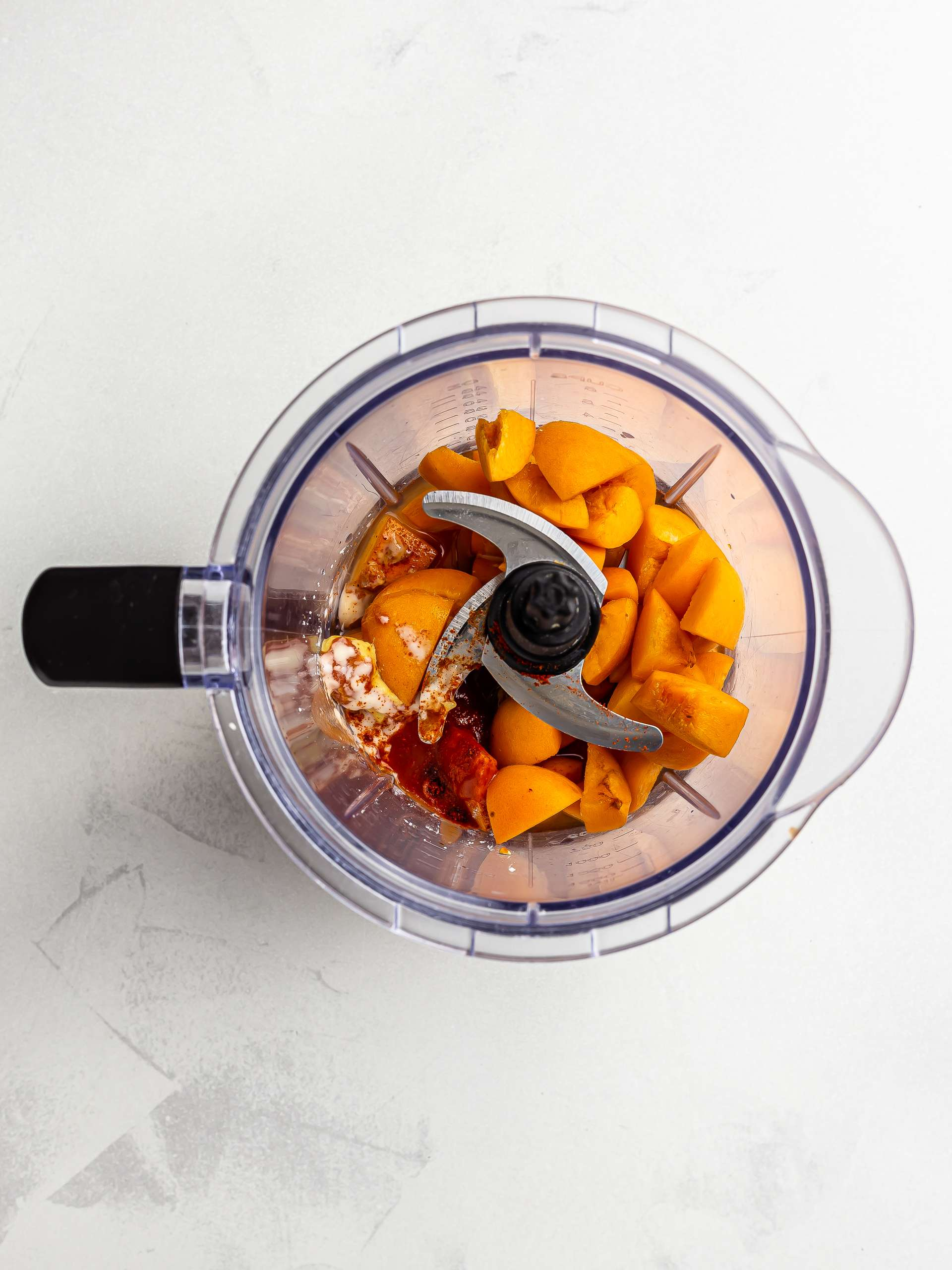 apricot bbq sauce ingredients in a blender
