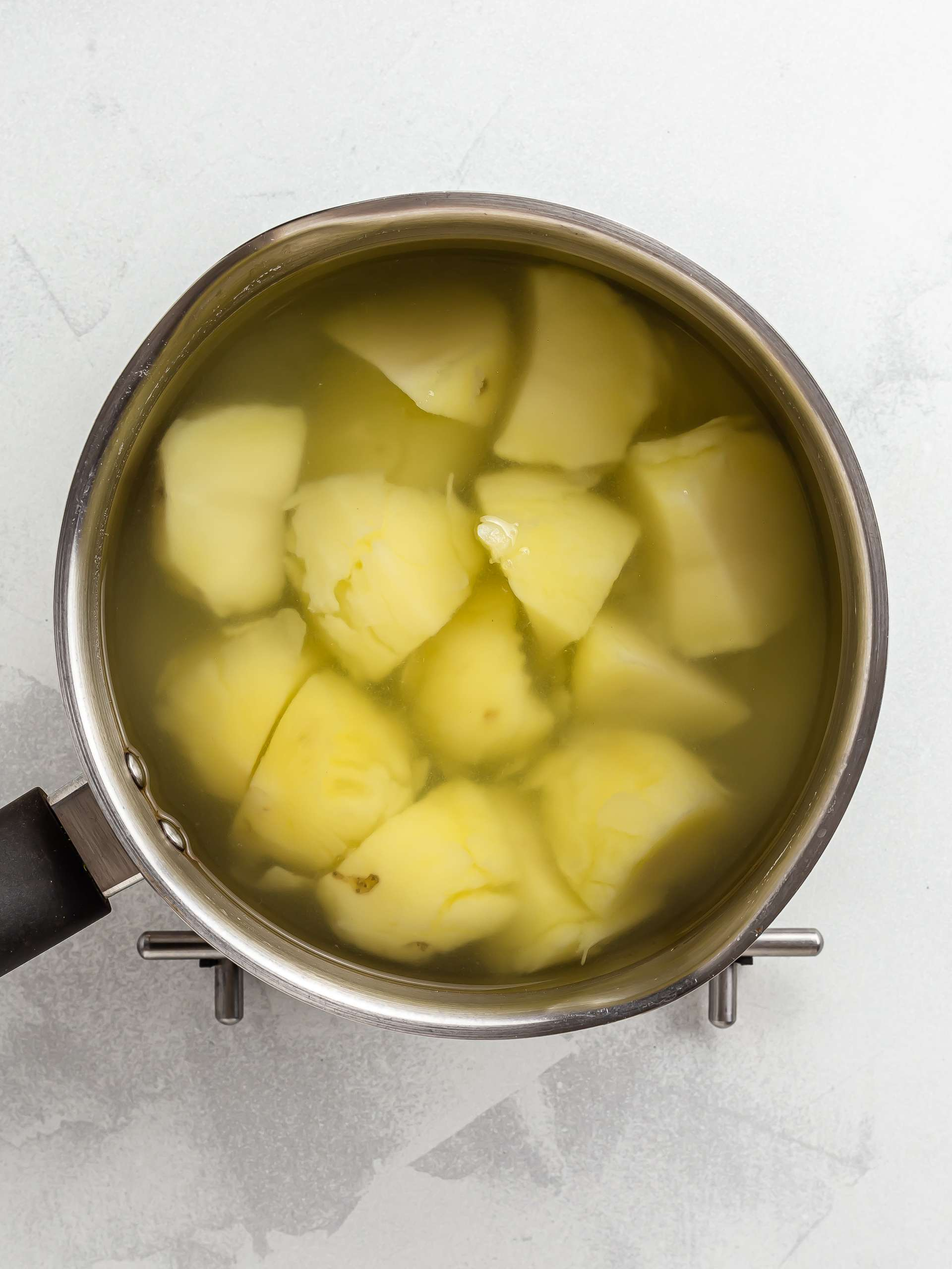 boiled potatoes in a pot