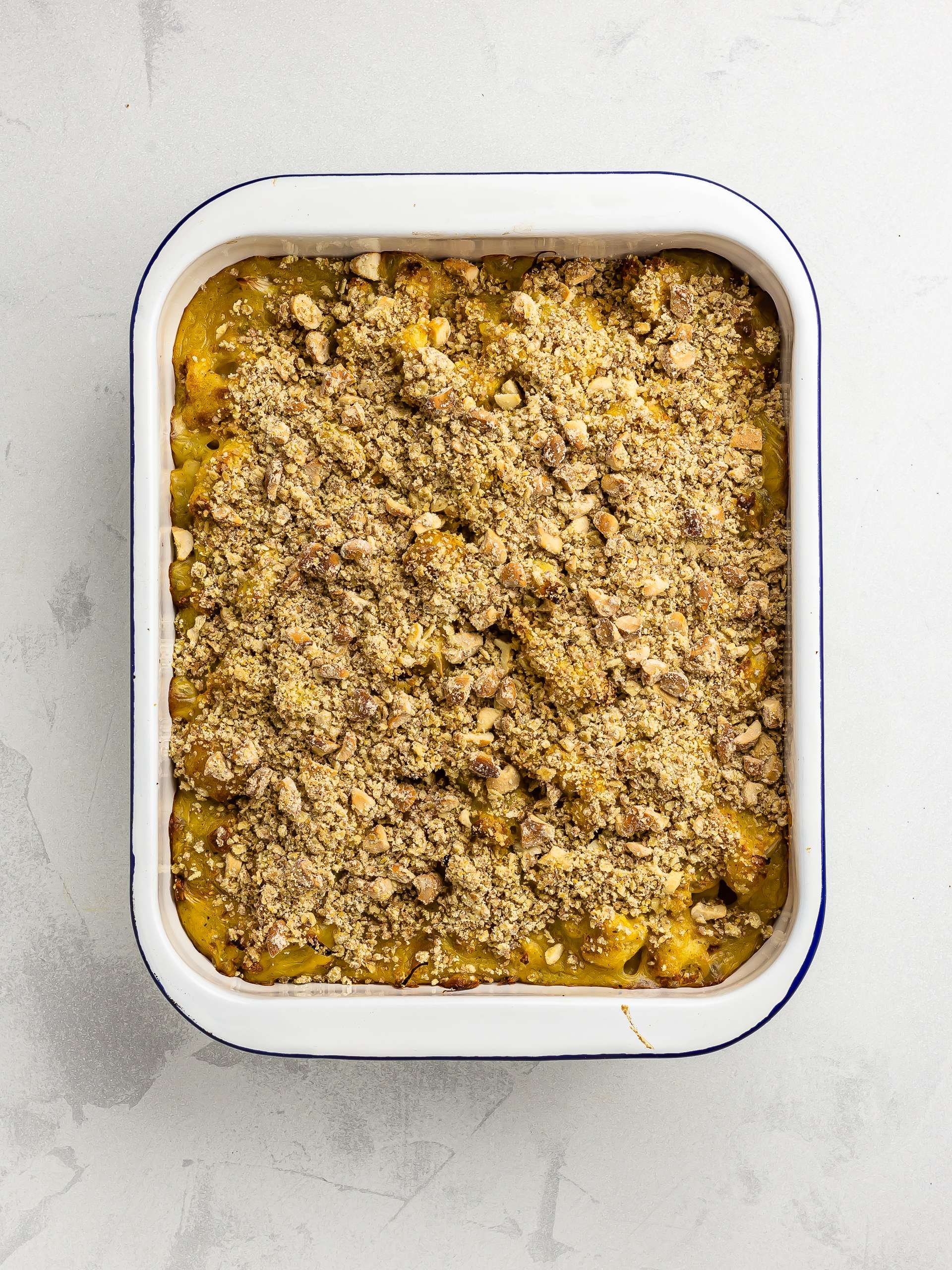 oven baked cauliflower crumble