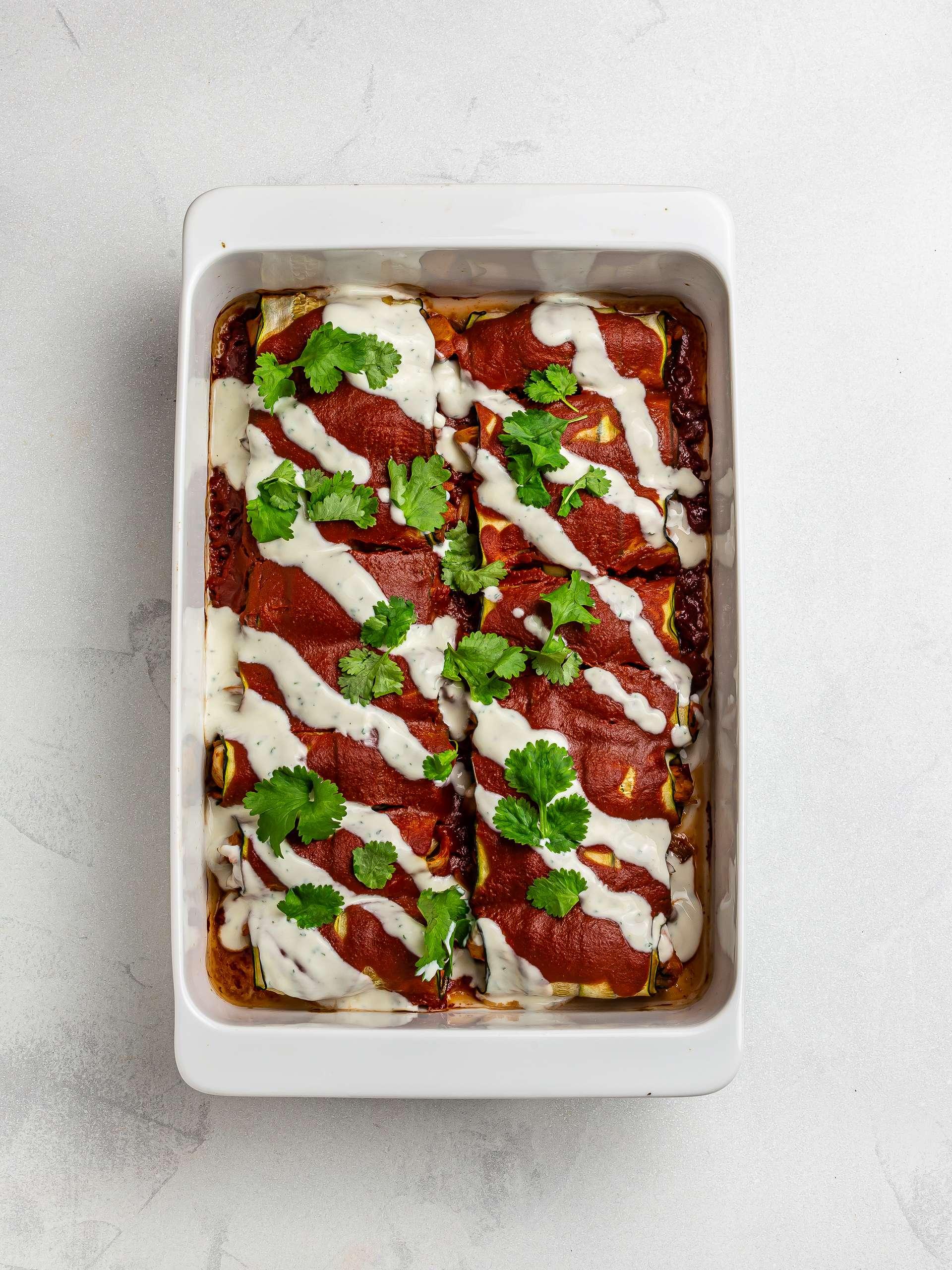 baked vegan zucchini enchiladas