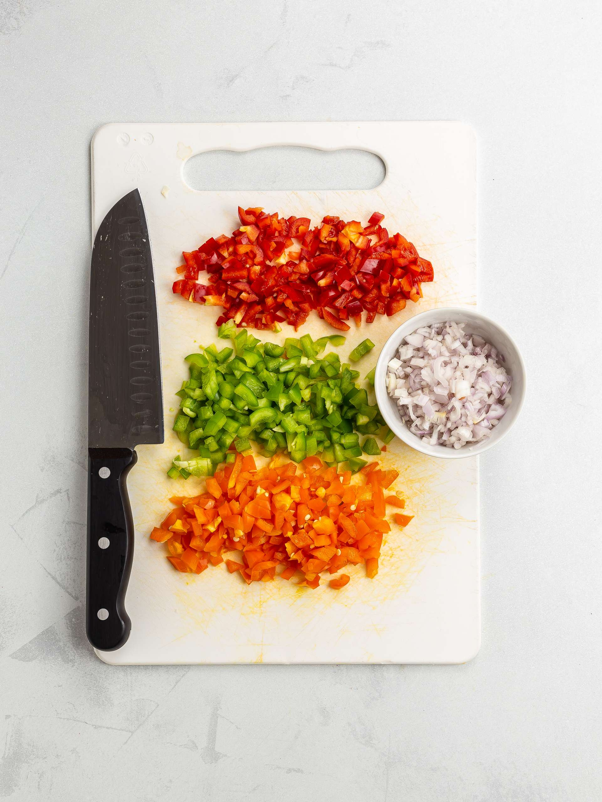 chopped peppers and shallots